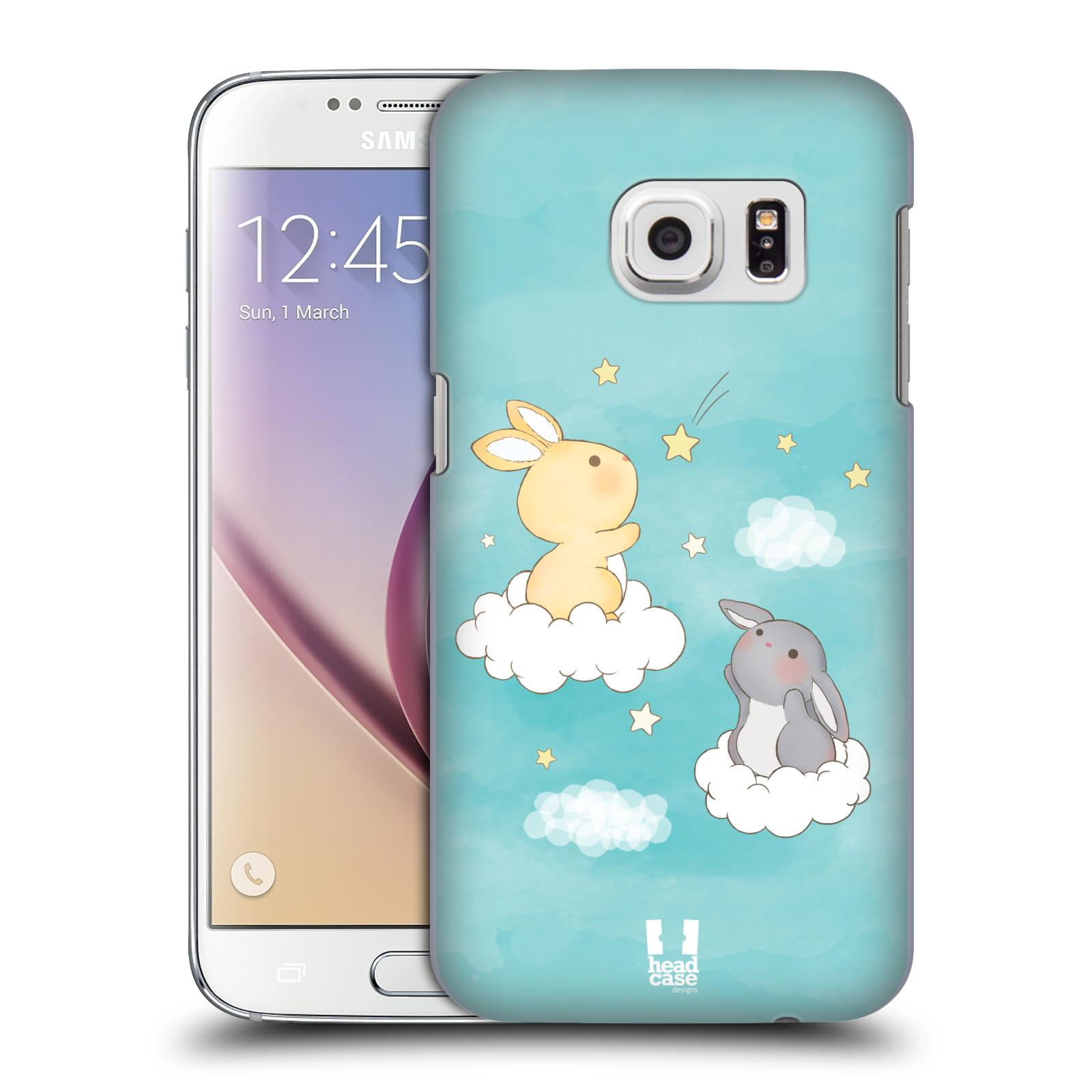 HEAD CASE plastový obal na mobil SAMSUNG GALAXY S7 vzor králíček a hvězdy modrá