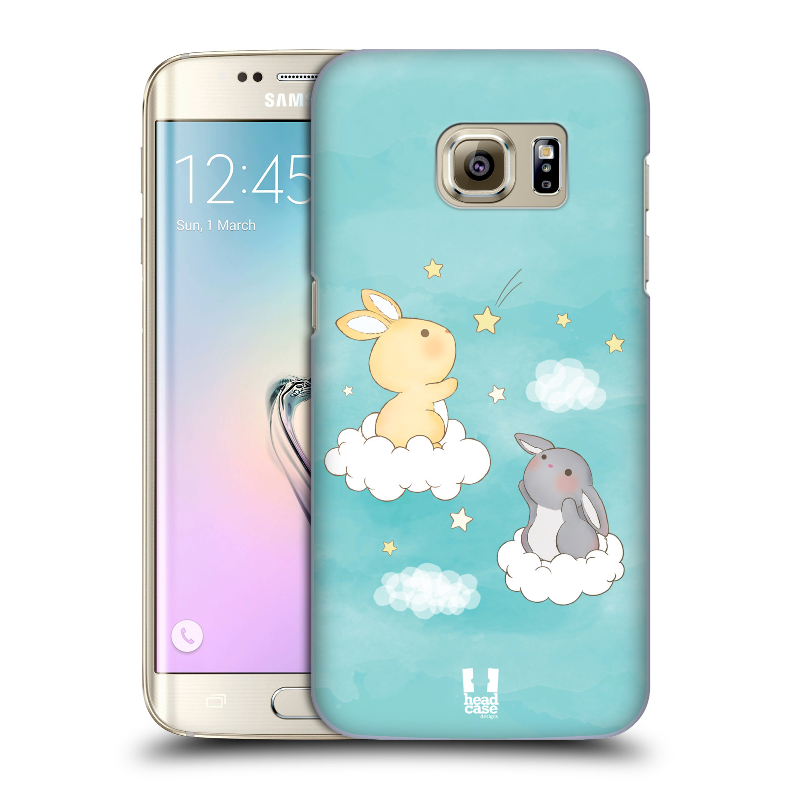 HEAD CASE plastový obal na mobil SAMSUNG GALAXY S7 EDGE vzor králíček a hvězdy modrá