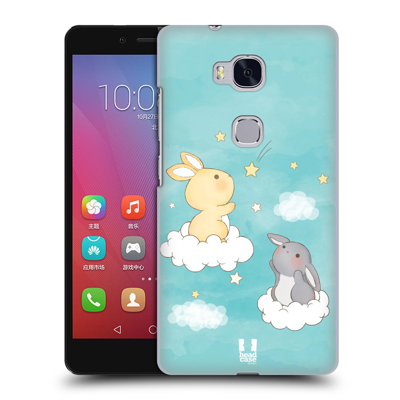 HEAD CASE pevný plastový obal na mobil HUAWEI HONOR 5X vzor králíček a hvězdy modrá