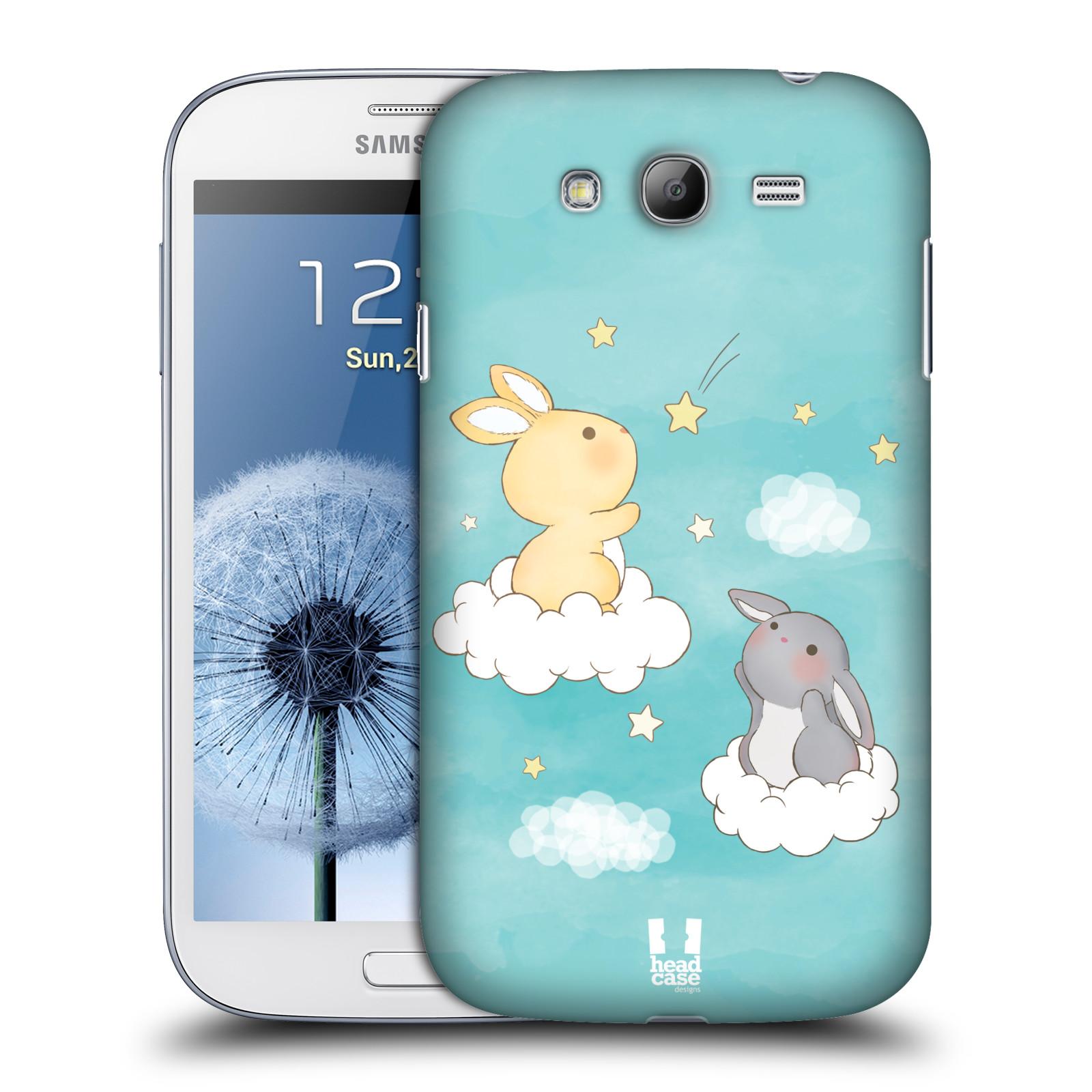 HEAD CASE plastový obal na mobil SAMSUNG GALAXY Grand i9080 vzor králíček a hvězdy modrá