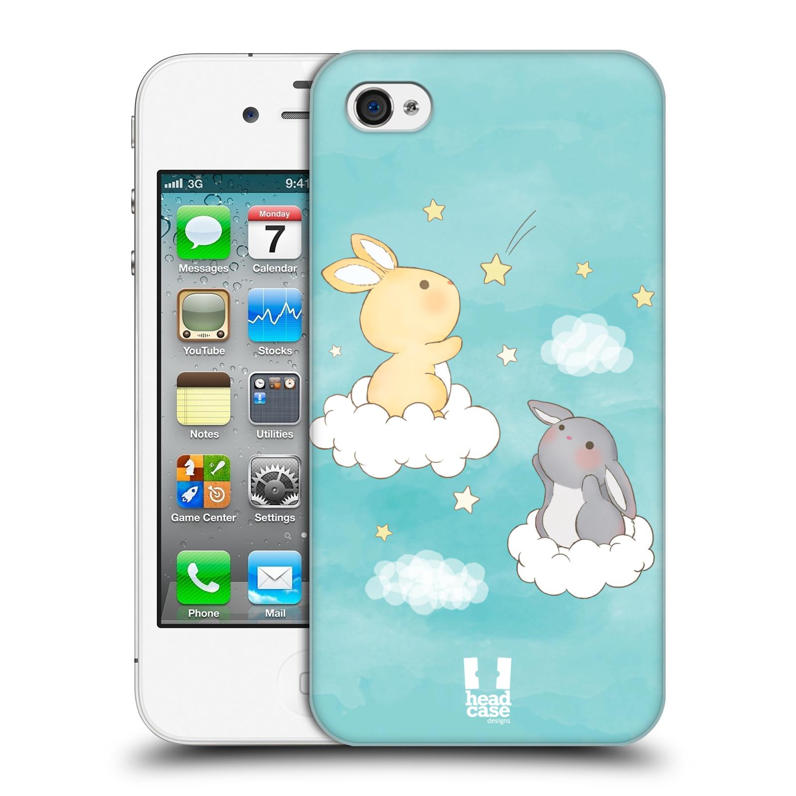 HEAD CASE plastový obal na mobil Apple Iphone 4/4S vzor králíček a hvězdy modrá