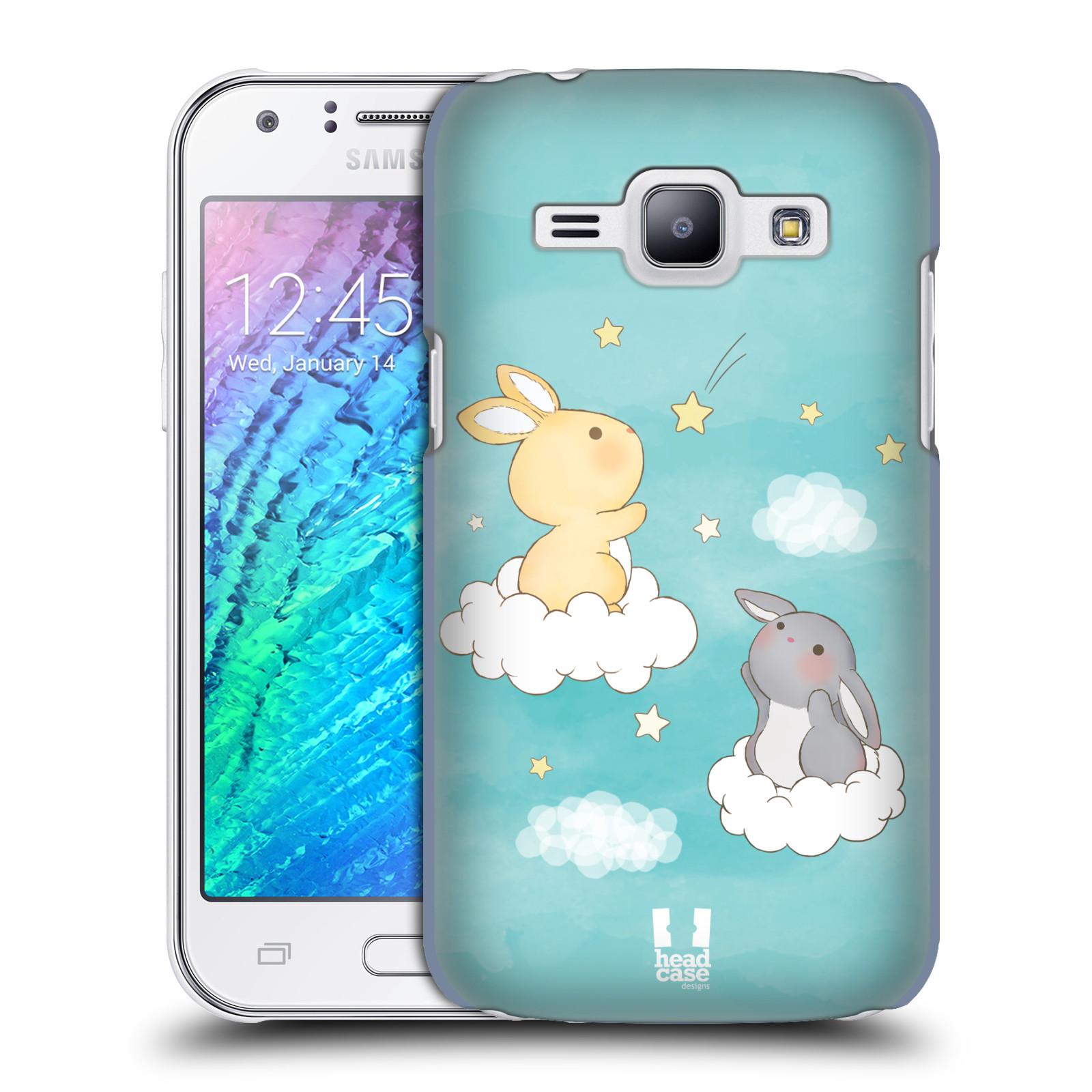 HEAD CASE plastový obal na mobil SAMSUNG Galaxy J1, J100 vzor králíček a hvězdy modrá