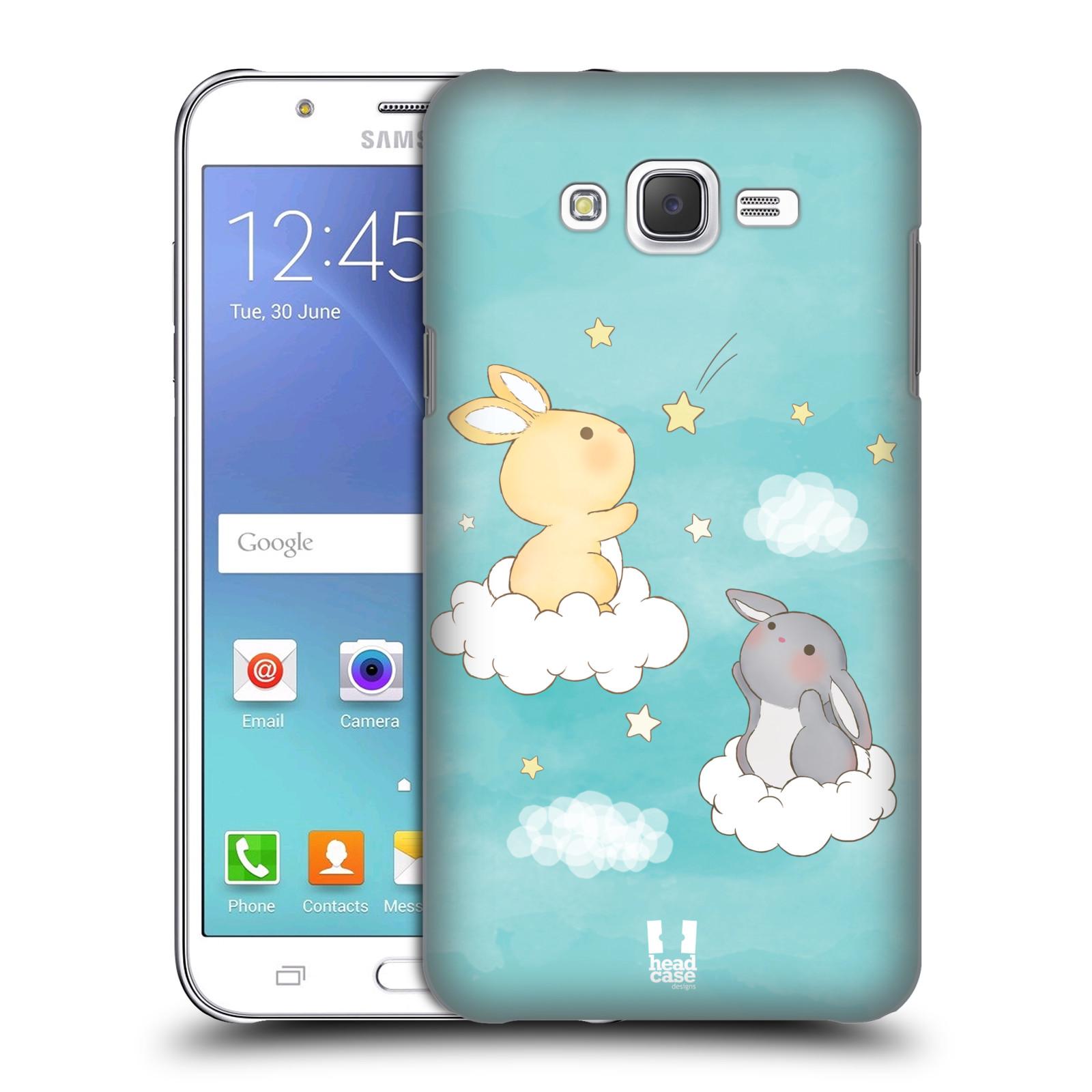 HEAD CASE plastový obal na mobil SAMSUNG Galaxy J7, J700 vzor králíček a hvězdy modrá