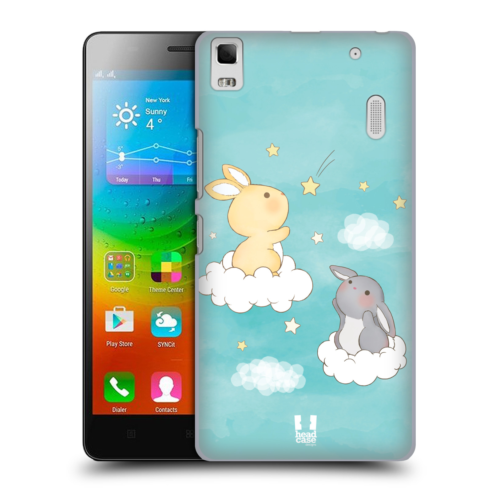 HEAD CASE pevný plastový obal na mobil LENOVO A7000 / A7000 DUAL / K3 NOTE vzor králíček a hvězdy modrá