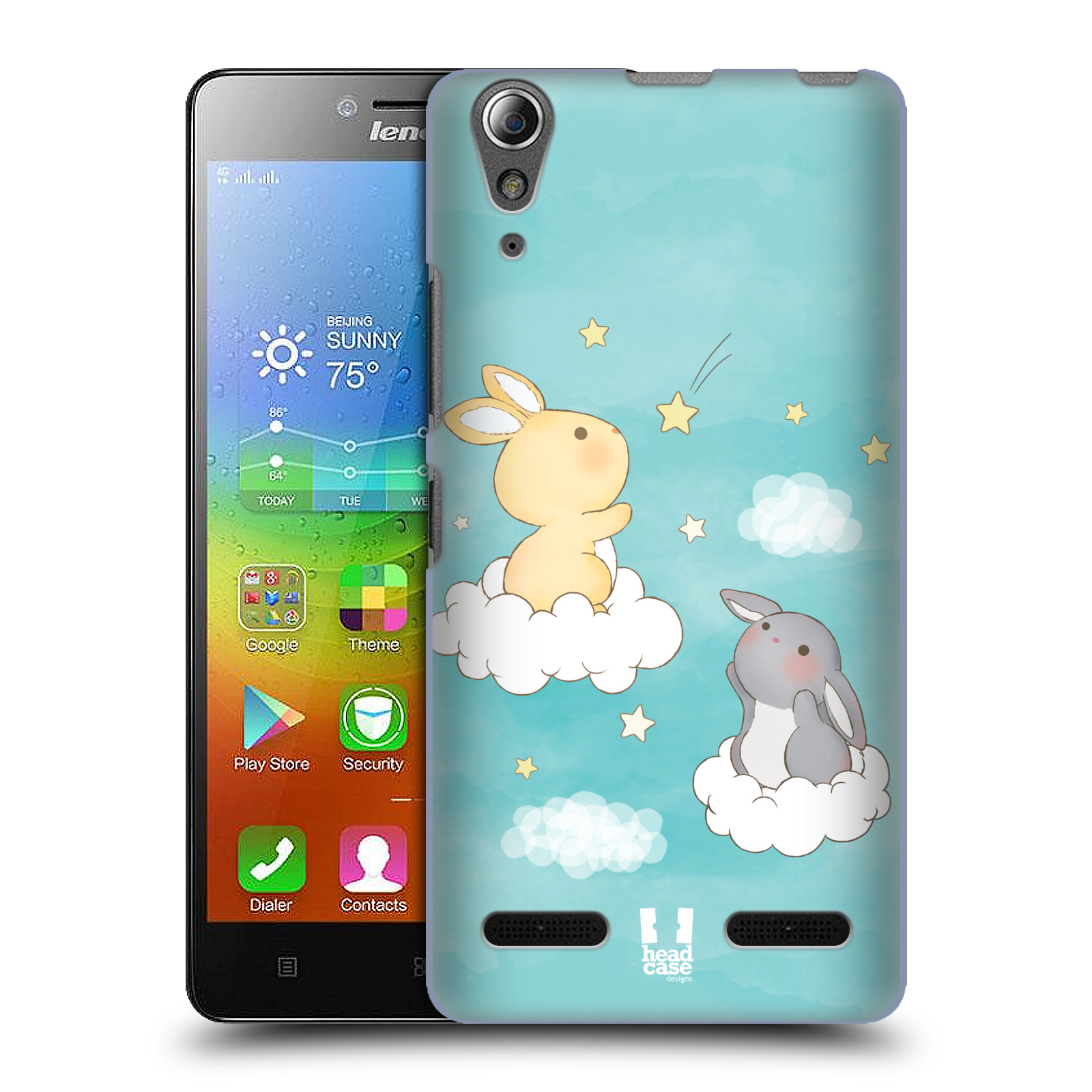 HEAD CASE pevný plastový obal na mobil LENOVO A6000 / A6000 PLUS vzor králíček a hvězdy modrá