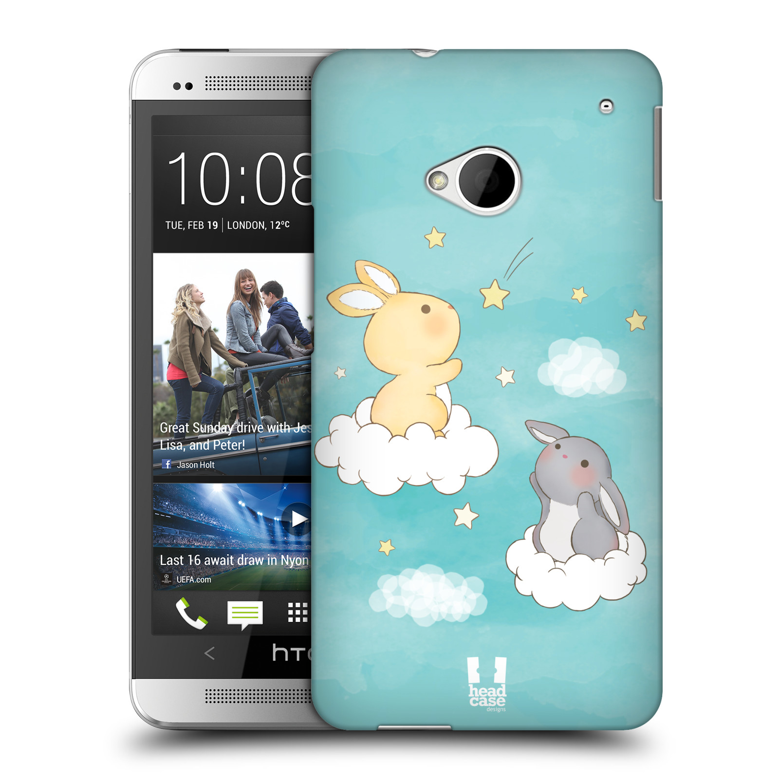HEAD CASE plastový obal na mobil HTC One (M7) vzor králíček a hvězdy modrá