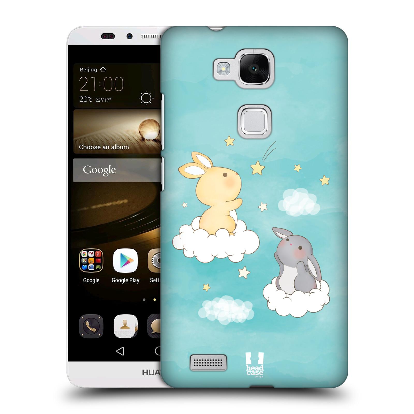 HEAD CASE plastový obal na mobil Huawei Mate 7 vzor králíček a hvězdy modrá