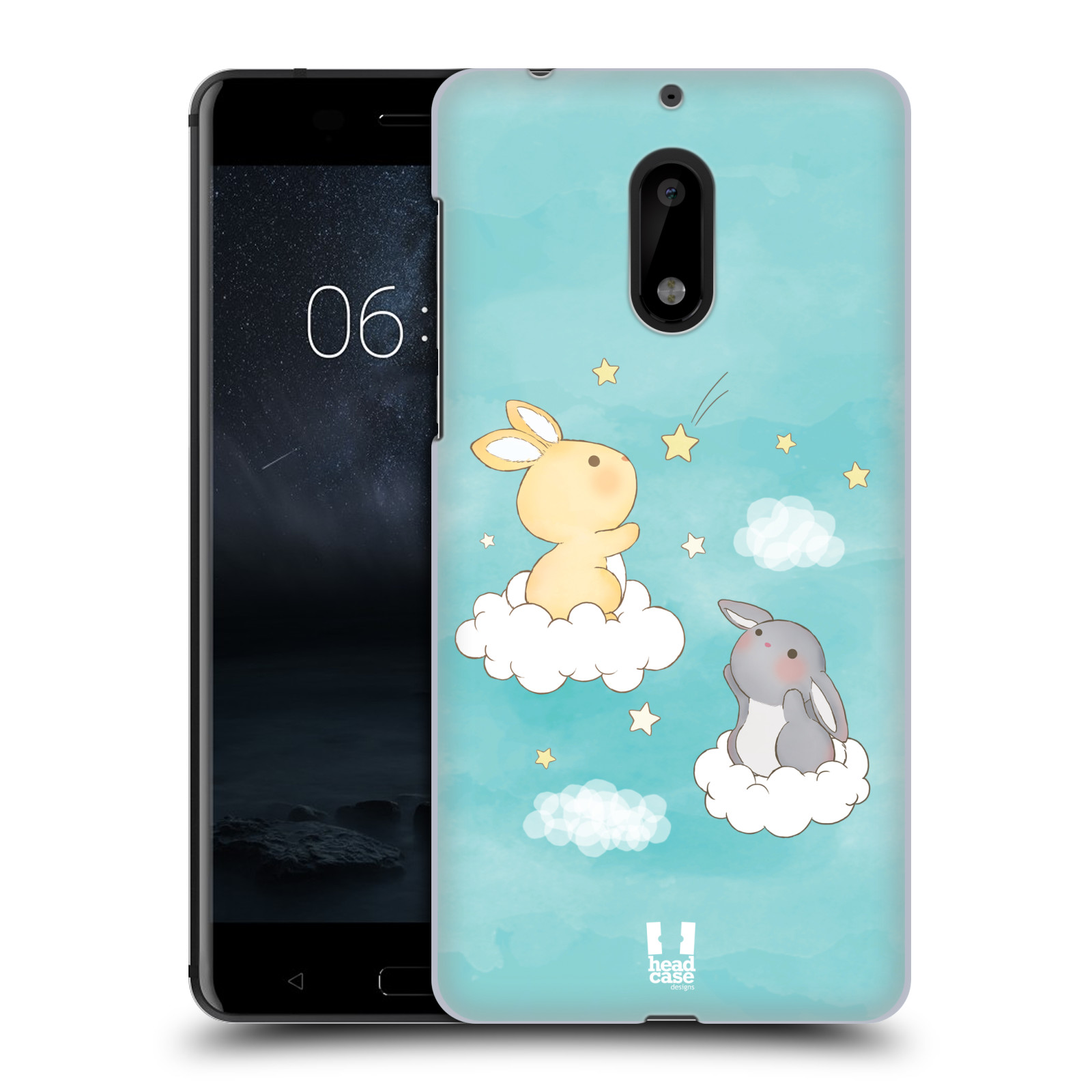 HEAD CASE plastový obal na mobil Nokia 6 vzor králíček a hvězdy modrá