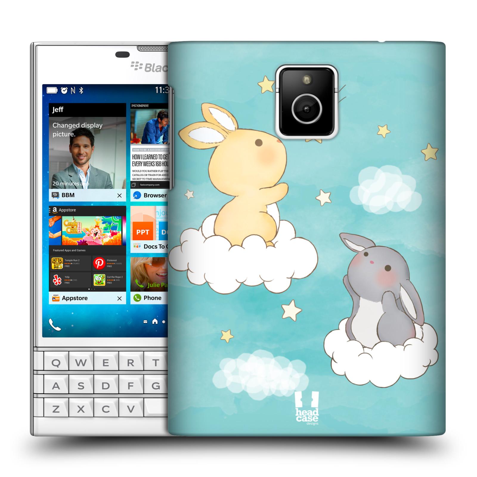 HEAD CASE plastový obal na mobil BlackBerry Passport vzor králíček a hvězdy modrá
