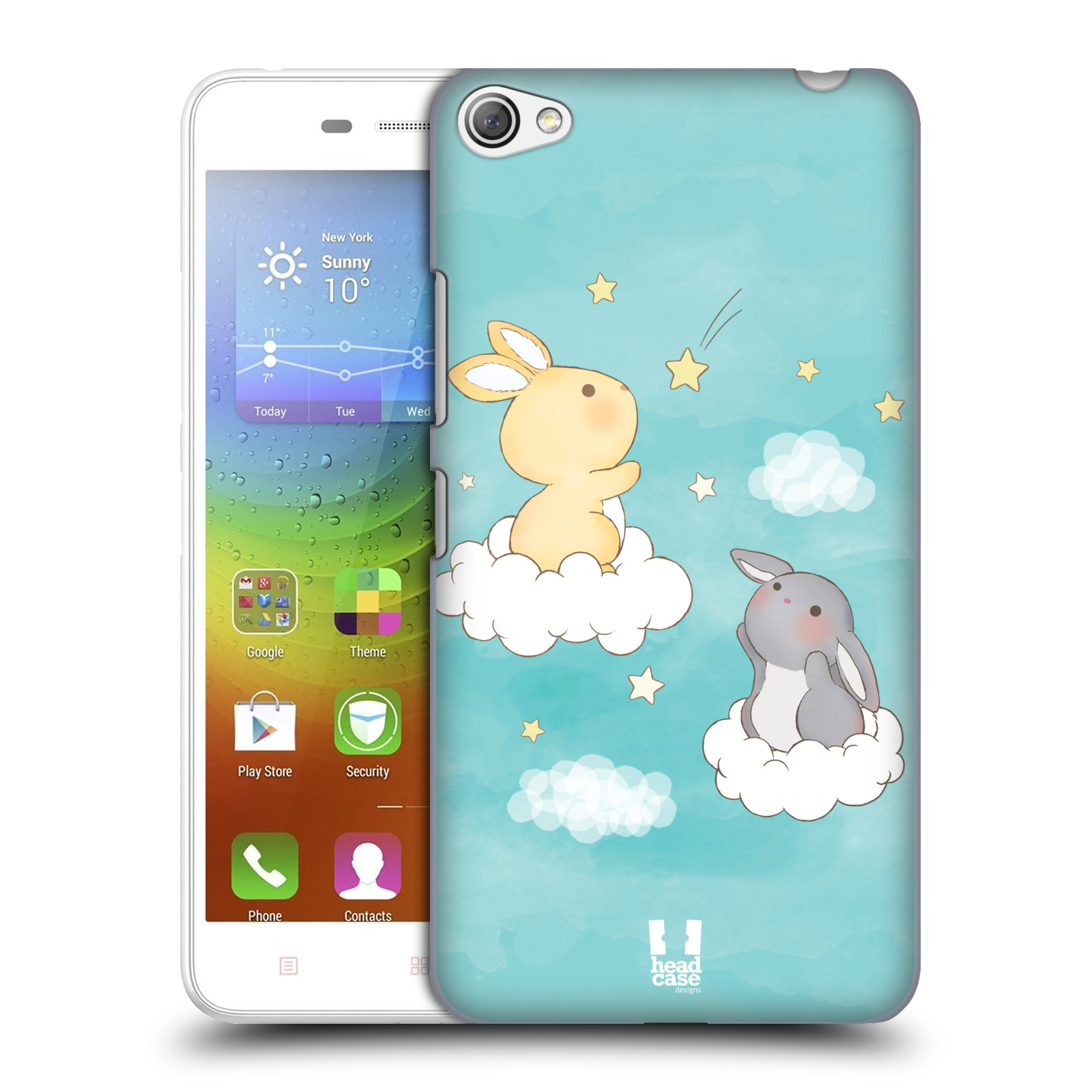 HEAD CASE pevný plastový obal na mobil LENOVO S60 / LENOVO S60 DUAL SIM vzor králíček a hvězdy modrá