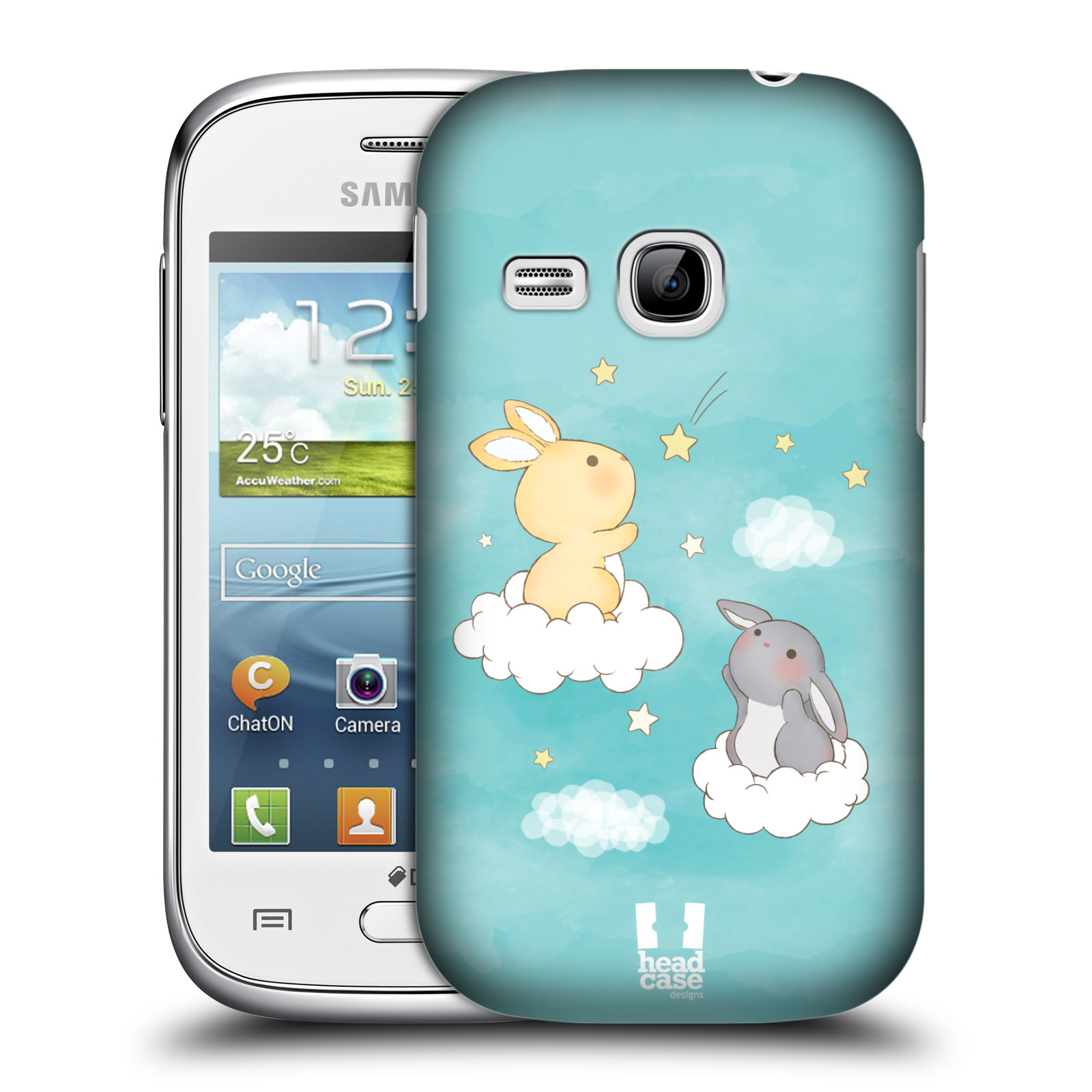 HEAD CASE plastový obal na mobil SAMSUNG Galaxy Young S6310 vzor králíček a hvězdy modrá