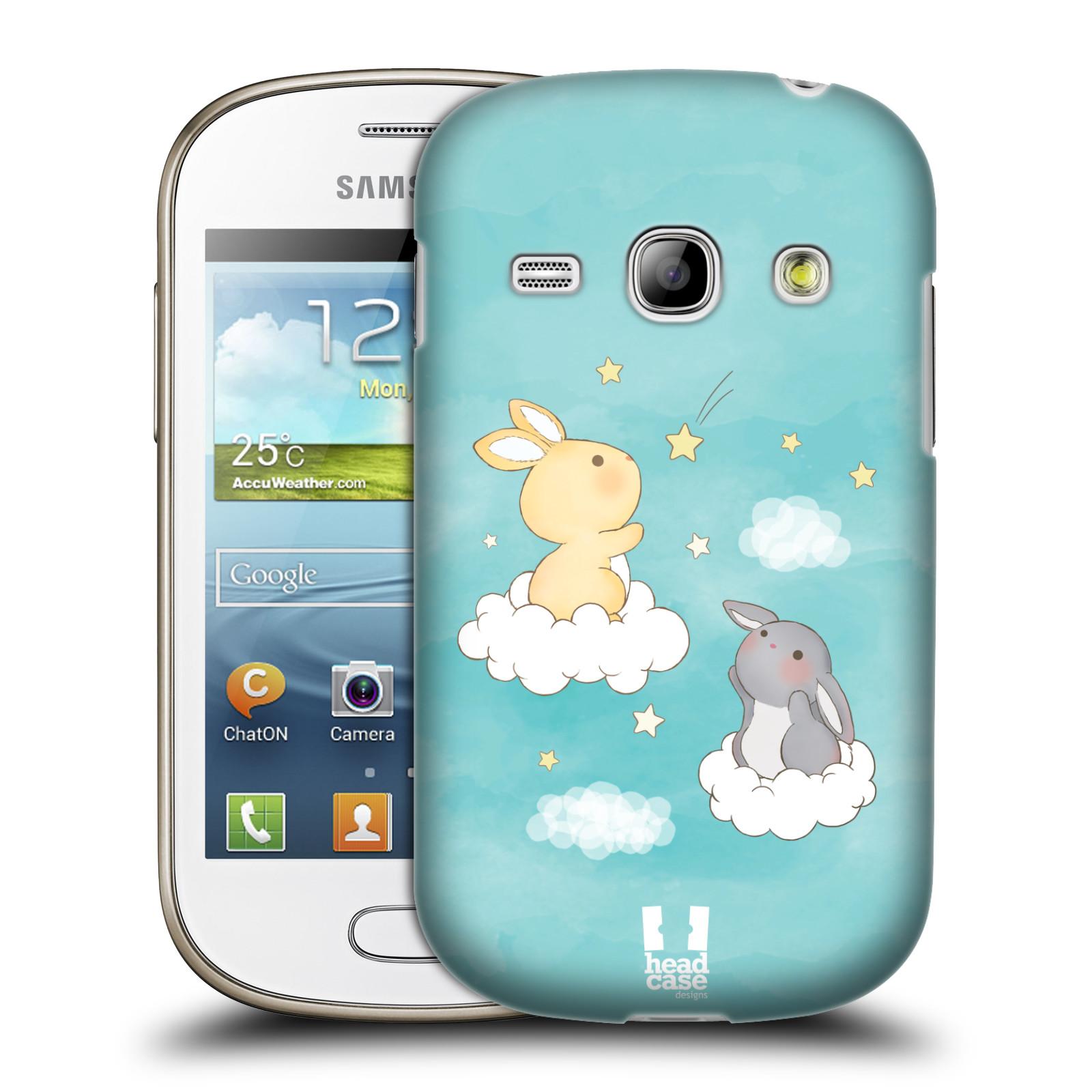 HEAD CASE plastový obal na mobil SAMSUNG GALAXY FAME (S6810) vzor králíček a hvězdy modrá