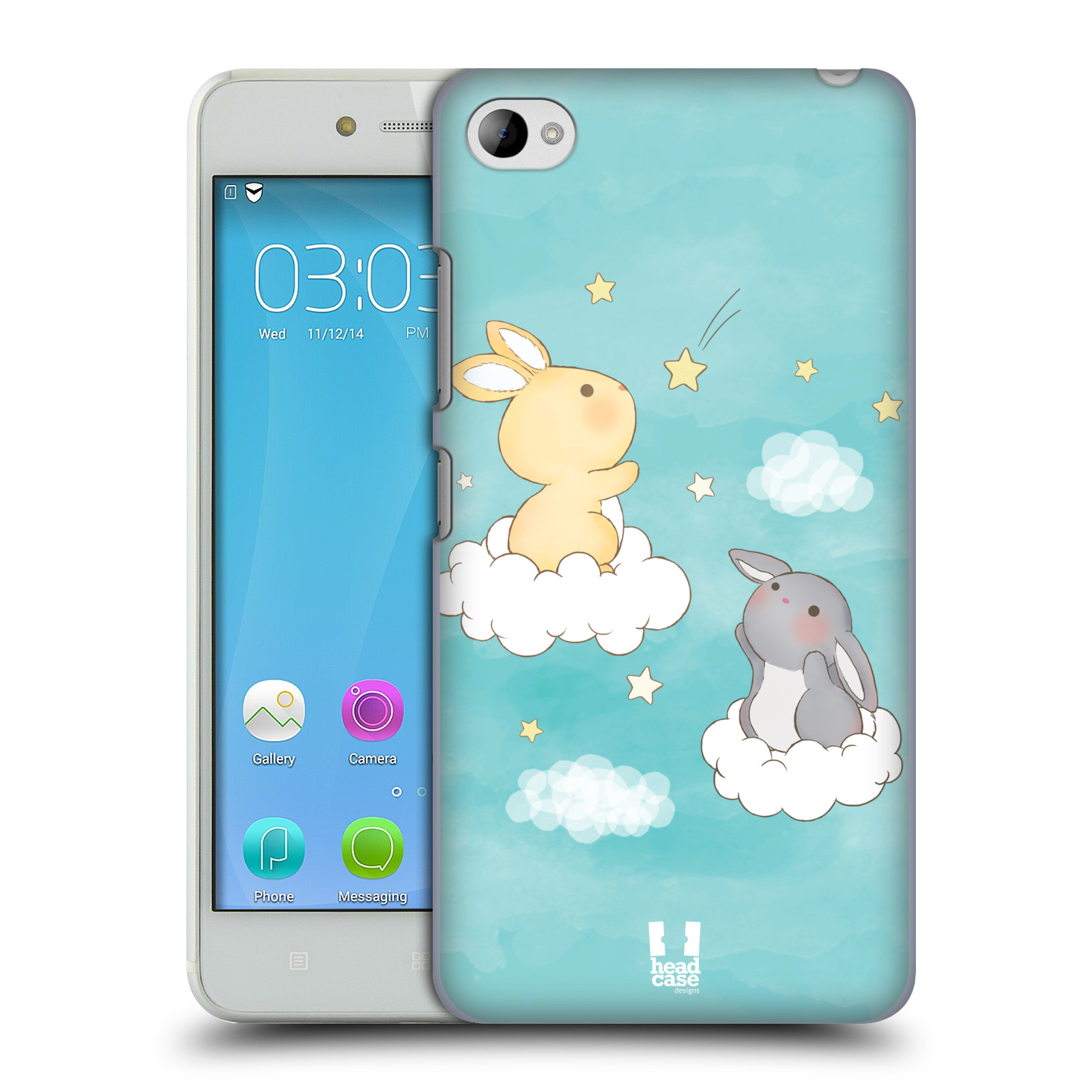 HEAD CASE pevný plastový obal na mobil LENOVO S90 vzor králíček a hvězdy modrá