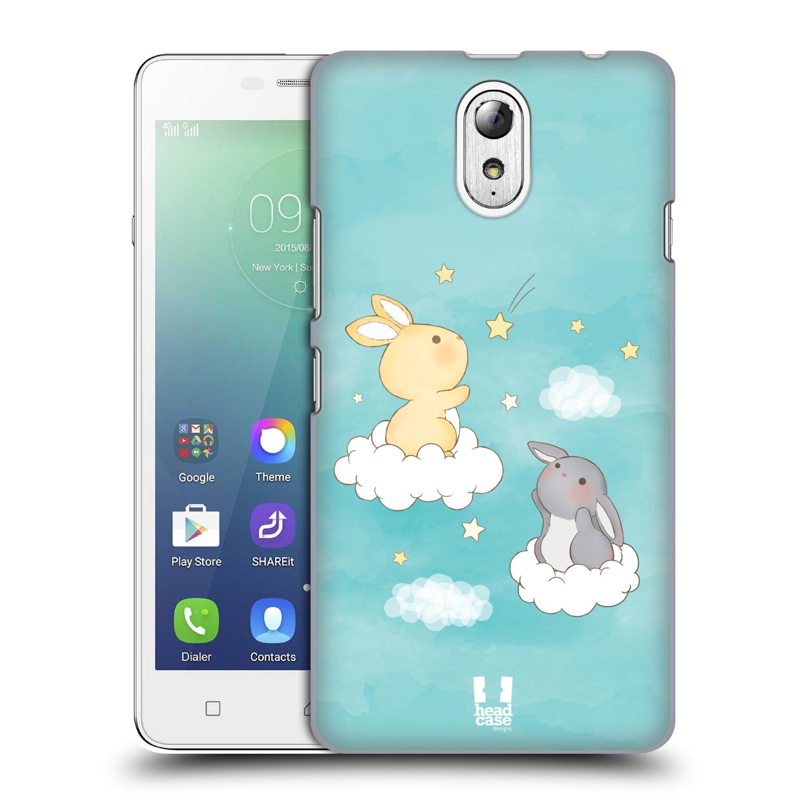 HEAD CASE pevný plastový obal na mobil LENOVO VIBE P1m / LENOVO VIBE p1m DUAL SIM vzor králíček a hvězdy modrá