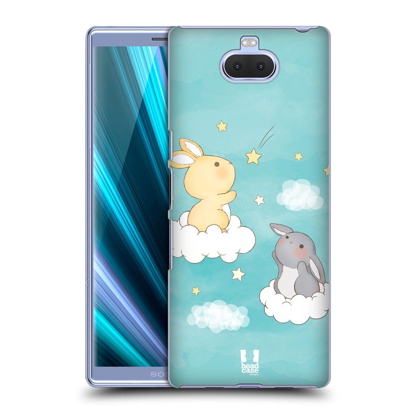 Pouzdro na mobil Sony Xperia 10 - Head Case - vzor králíček a hvězdy modrá