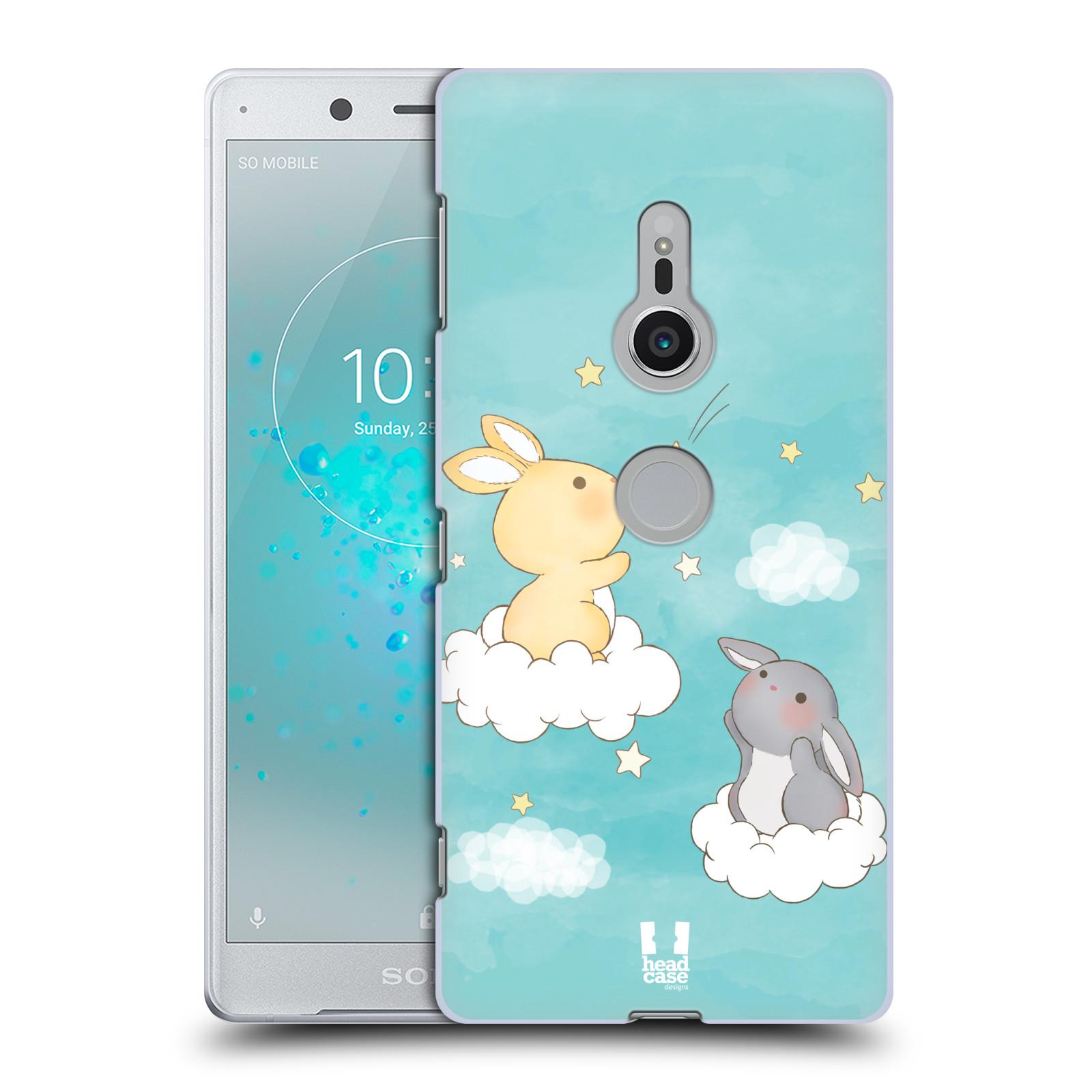 HEAD CASE plastový obal na mobil Sony Xperia XZ2 vzor králíček a hvězdy modrá
