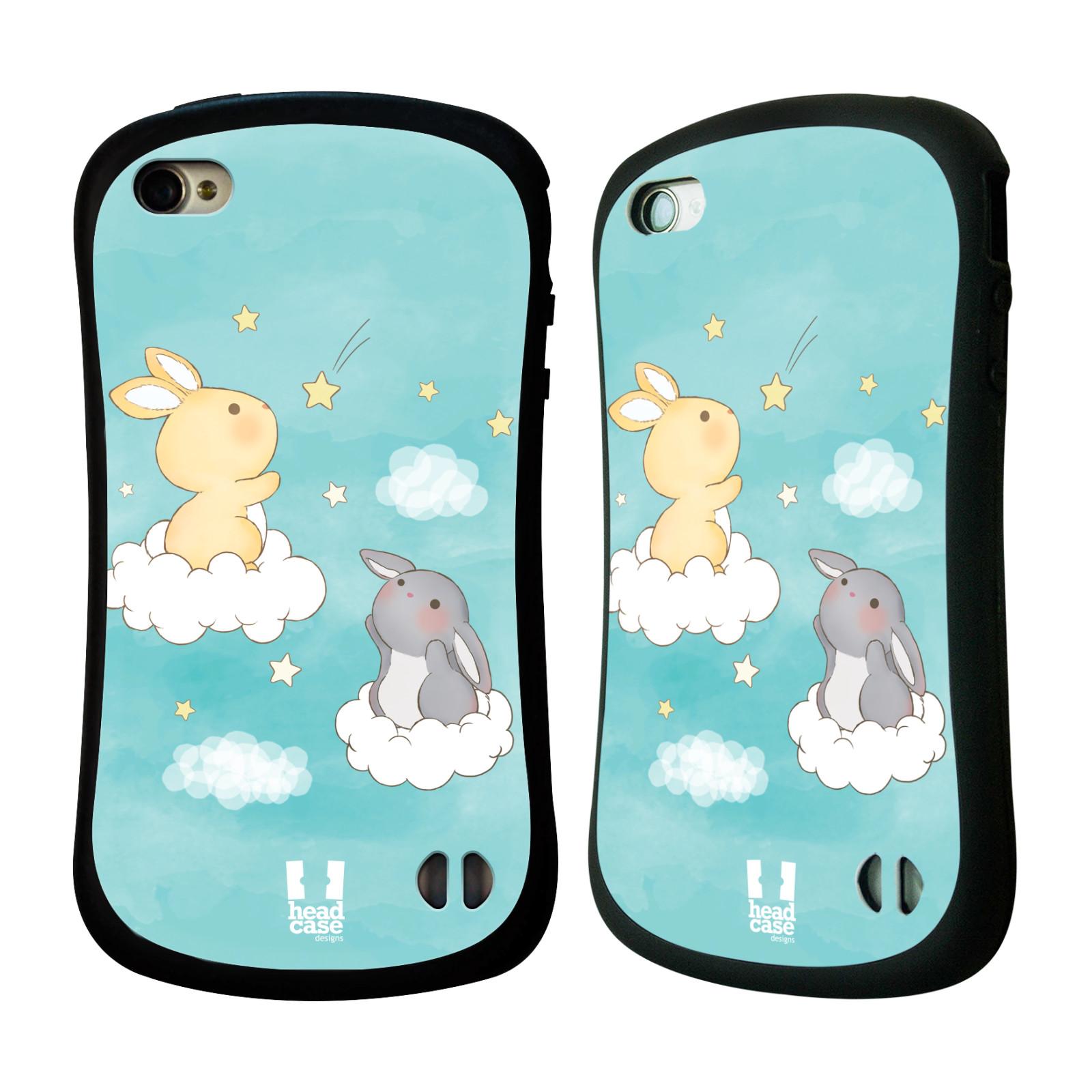 HEAD CASE silikon/plast odolný obal na mobil Apple Iphone 4/4S vzor králíček a hvězdy modrá