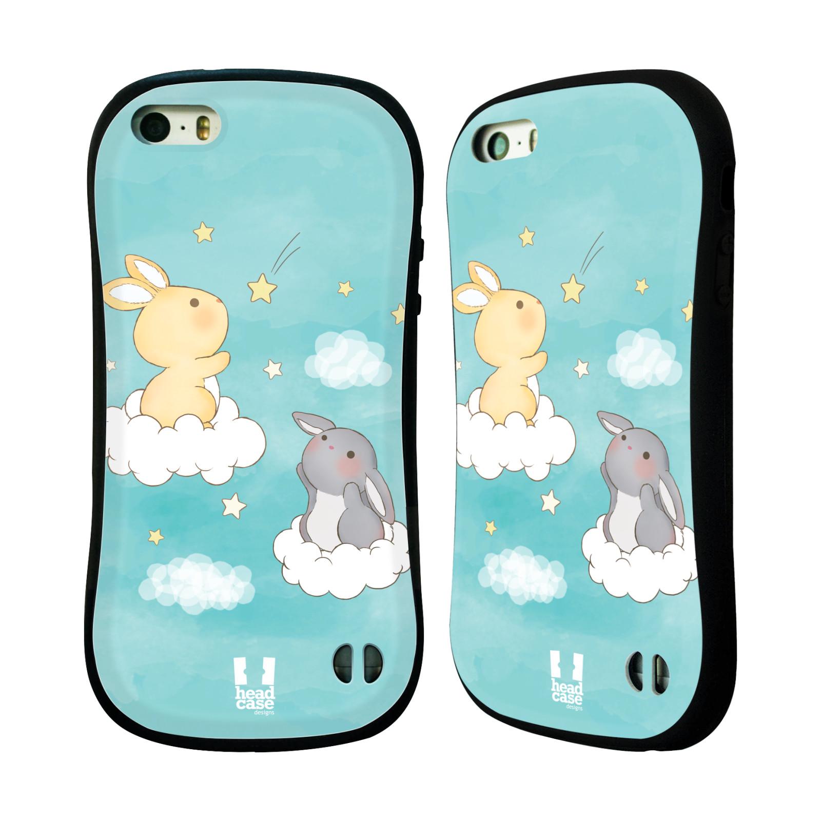 HEAD CASE silikon/plast odolný obal na mobil Apple Iphone 5/5S vzor králíček a hvězdy modrá