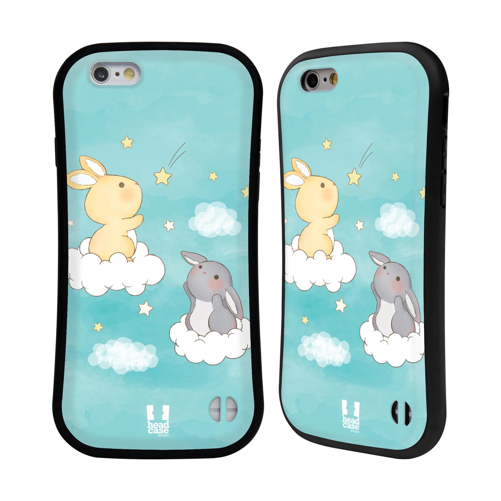 HEAD CASE silikon/plast odolný obal na mobil Apple Iphone 6/6S vzor králíček a hvězdy modrá