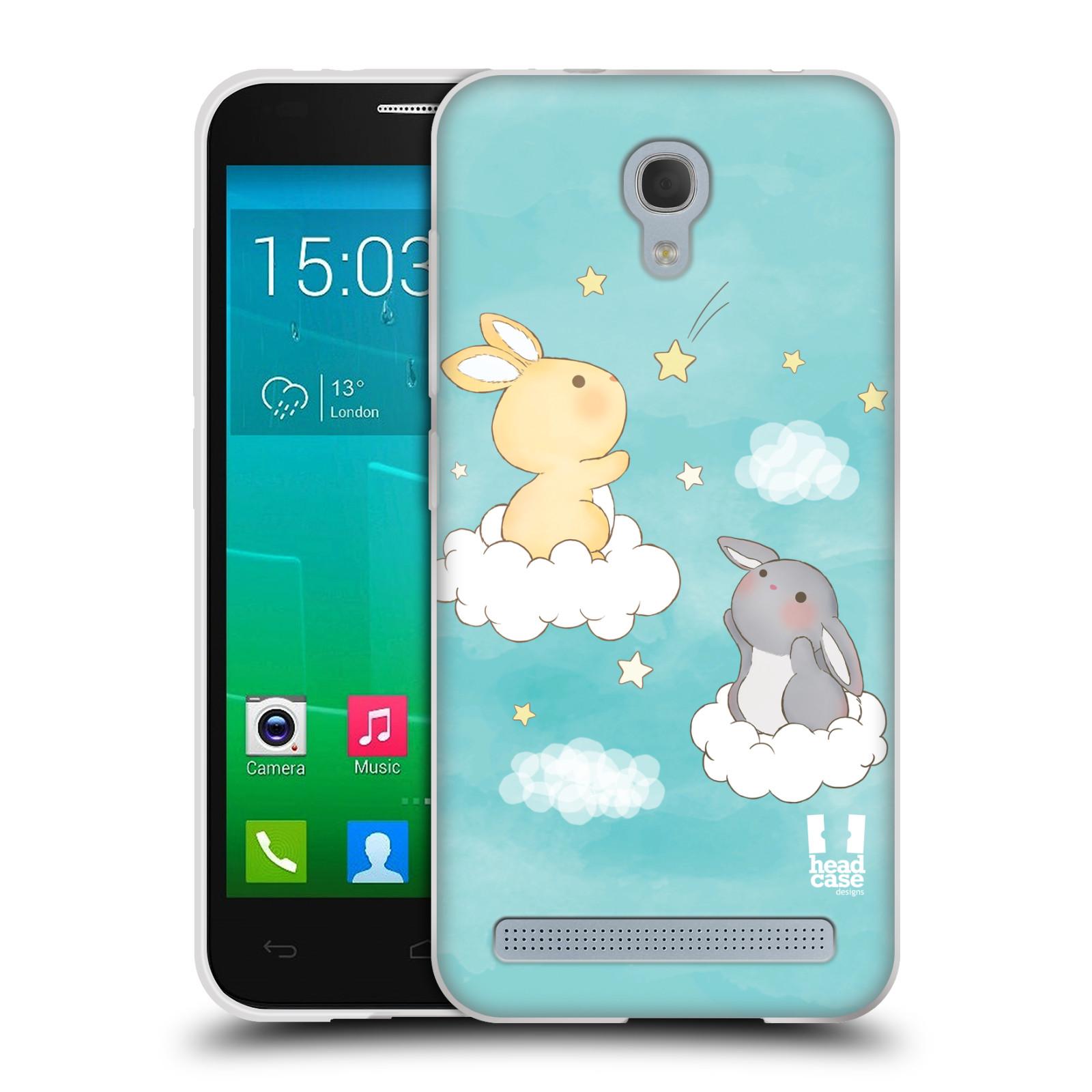 HEAD CASE silikonový obal na mobil Alcatel Idol 2 MINI S 6036Y vzor králíček a hvězdy modrá
