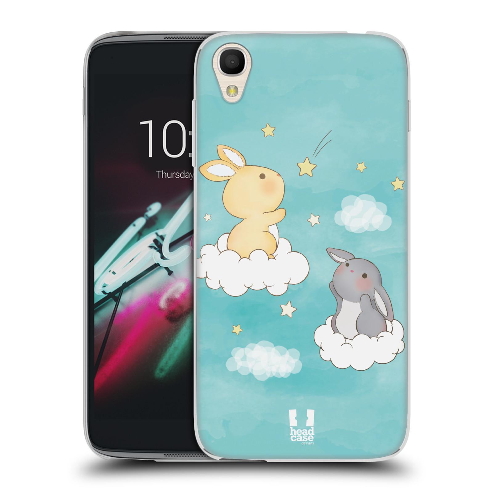 HEAD CASE silikonový obal na mobil Alcatel Idol 3 OT-6039Y (4.7) vzor králíček a hvězdy modrá