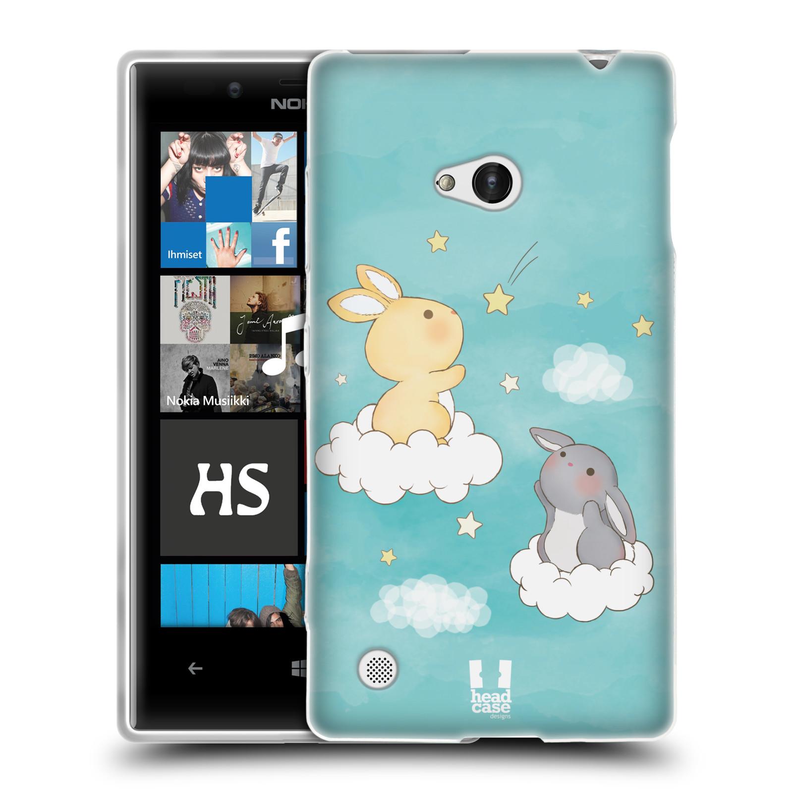 HEAD CASE silikonový obal na mobil NOKIA Lumia 720 vzor králíček a hvězdy modrá