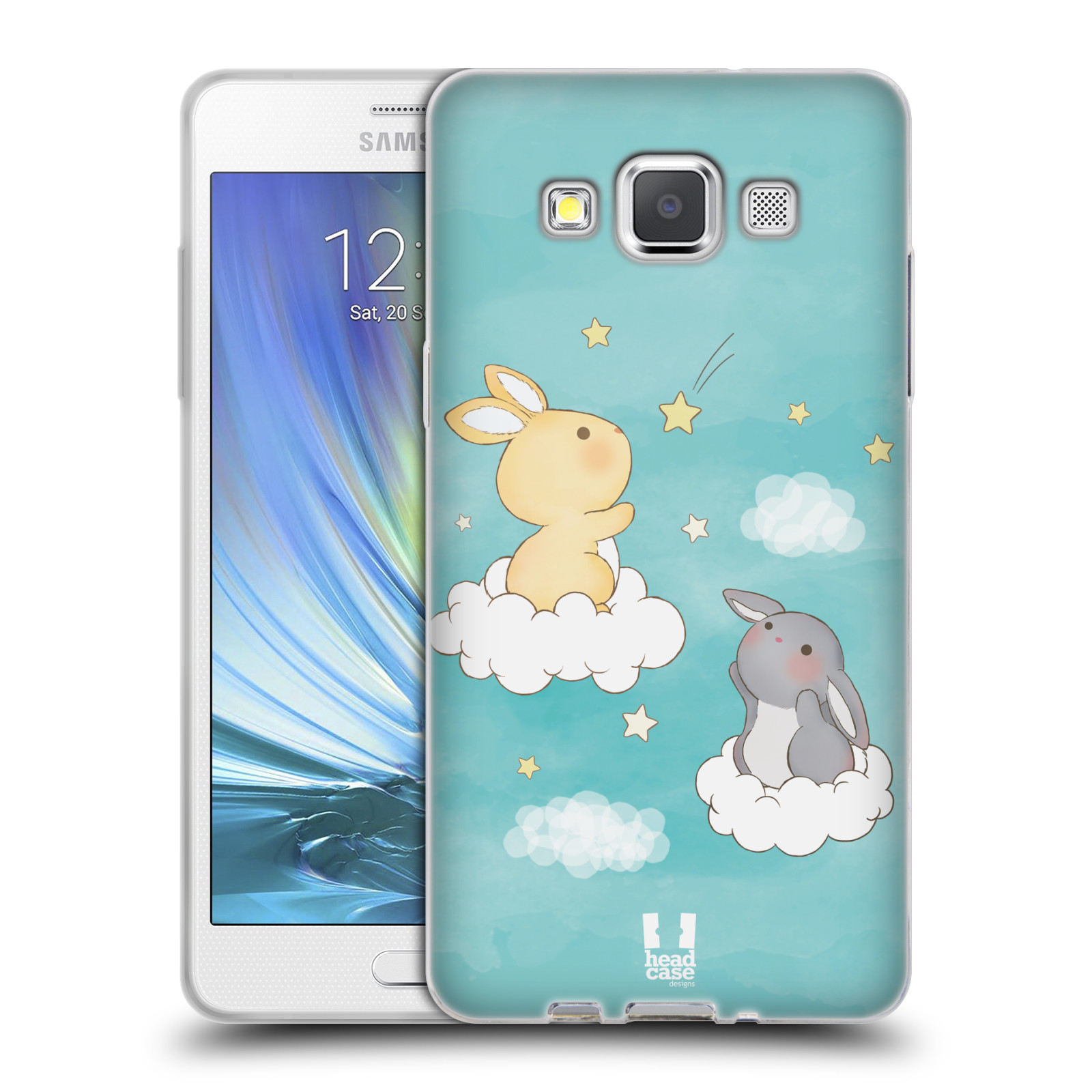 HEAD CASE silikonový obal na mobil Samsung Galaxy A5 vzor králíček a hvězdy modrá