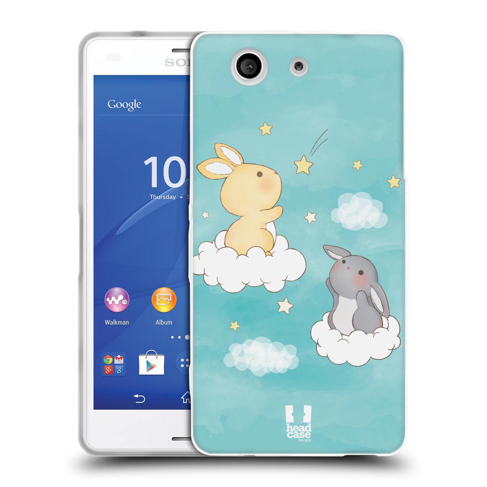 HEAD CASE silikonový obal na mobil Sony Xperia Z3 COMPACT (D5803) vzor králíček a hvězdy modrá
