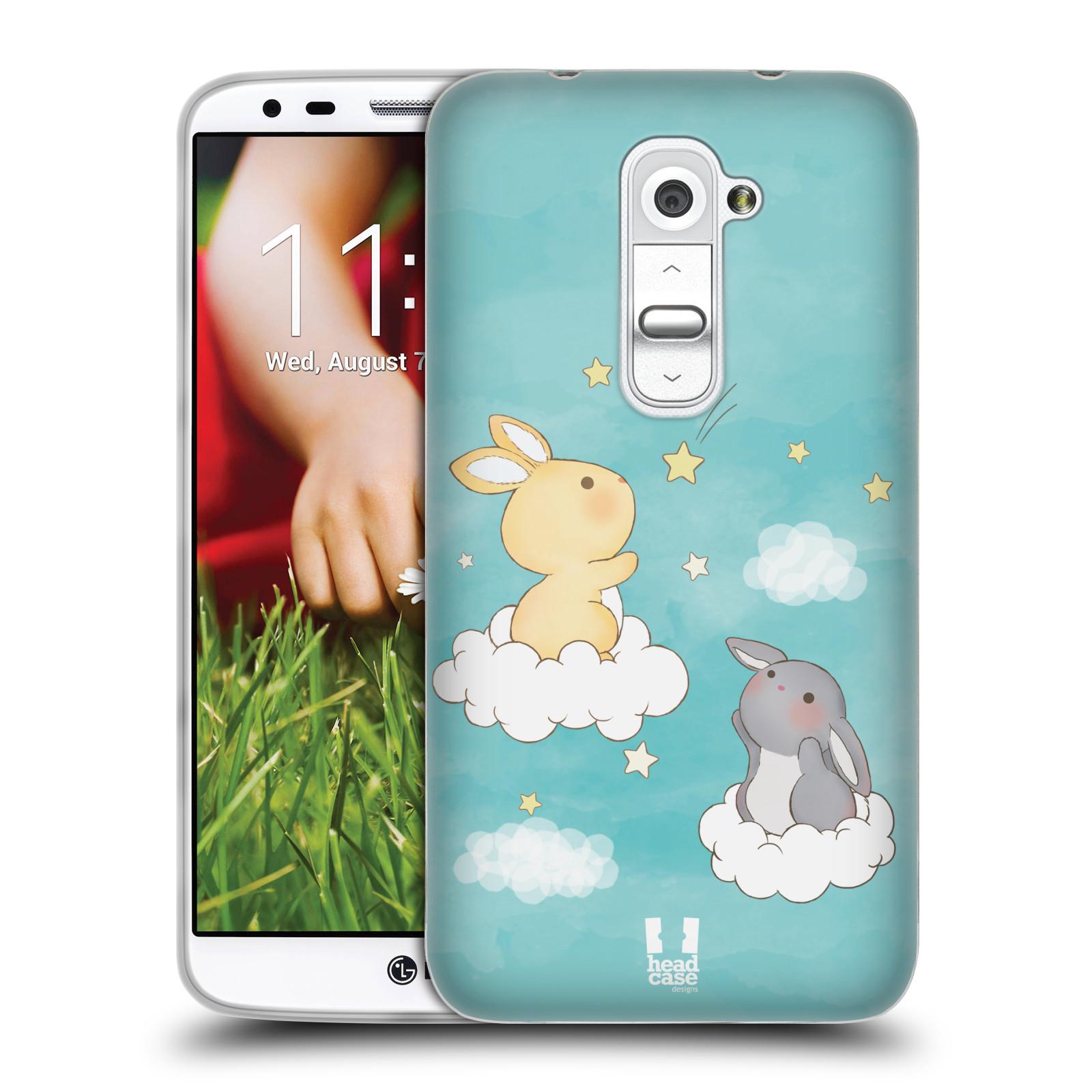 HEAD CASE silikonový obal na mobil LG G2 vzor králíček a hvězdy modrá
