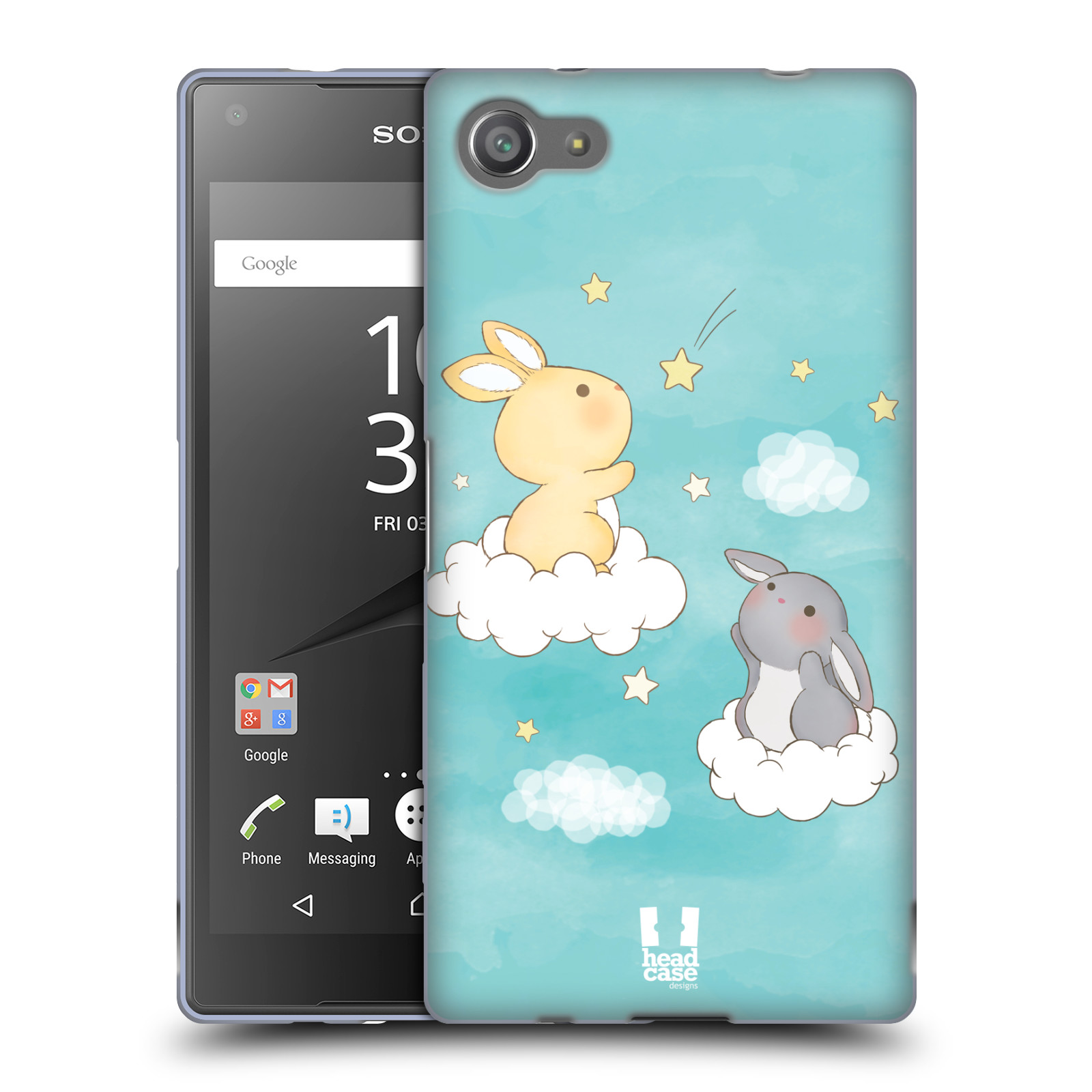 HEAD CASE silikonový obal na mobil Sony Xperia Z5 COMPACT vzor králíček a hvězdy modrá