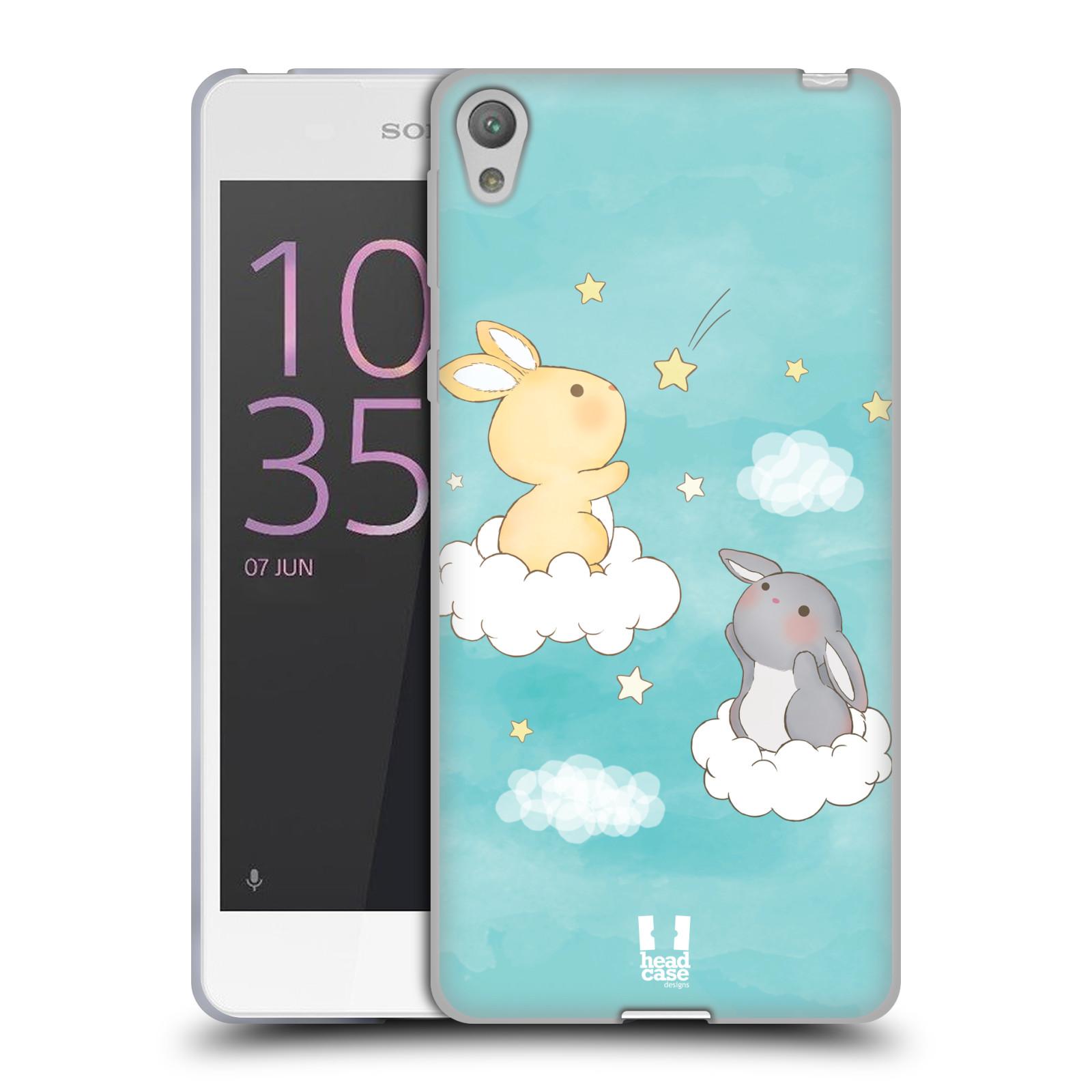 HEAD CASE silikonový obal na mobil SONY XPERIA E5 vzor králíček a hvězdy modrá