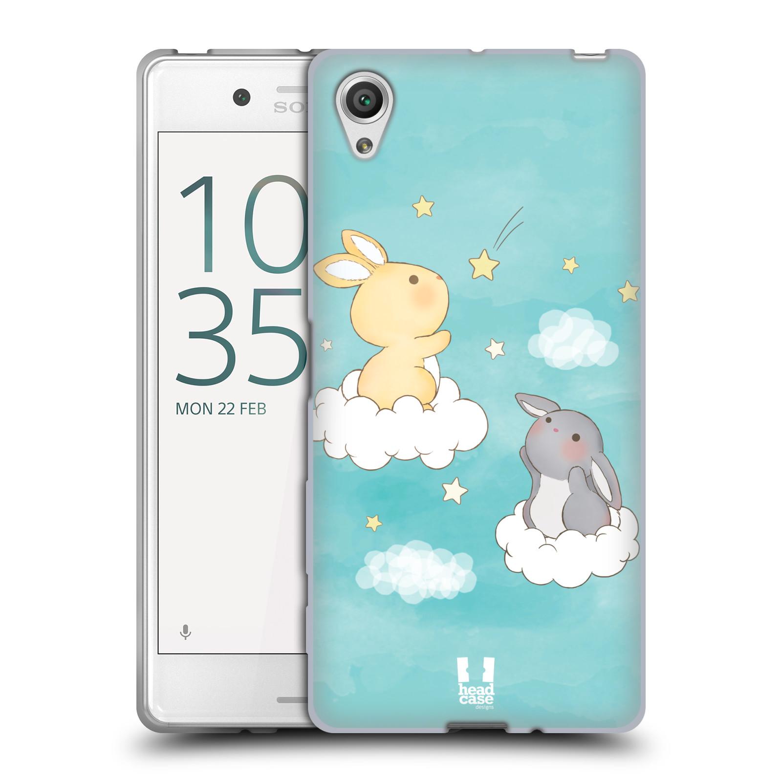 HEAD CASE silikonový obal na mobil Sony Xperia X / X DUAL vzor králíček a hvězdy modrá