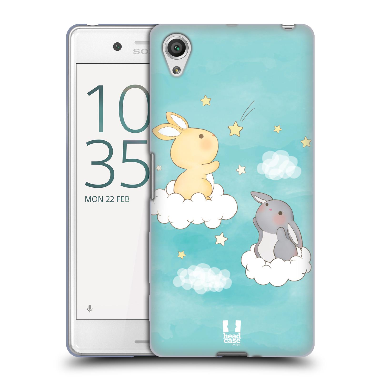 HEAD CASE silikonový obal na mobil Sony Xperia X PERFORMANCE (F8131, F8132) vzor králíček a hvězdy modrá