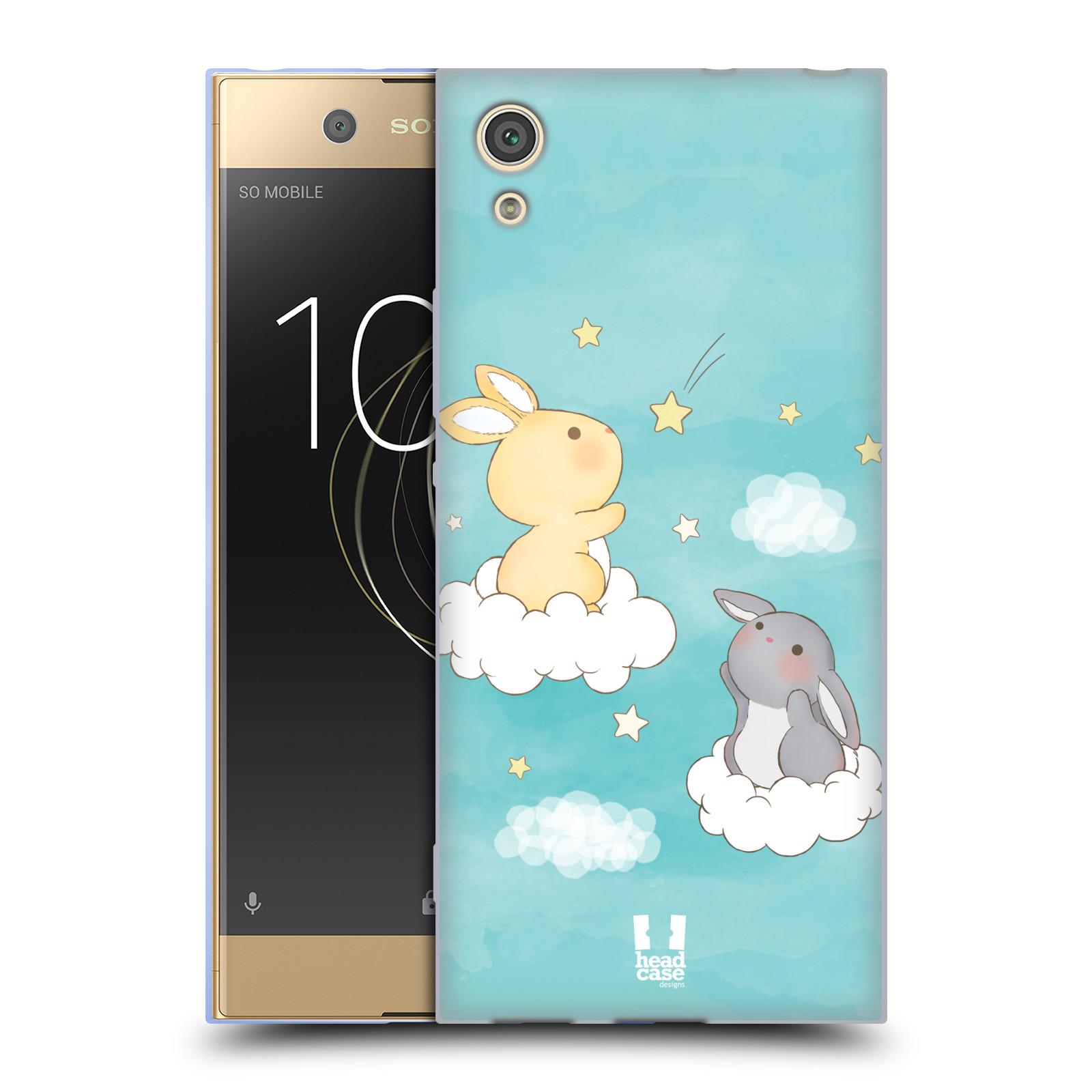 HEAD CASE silikonový obal na mobil Sony Xperia XA1 / XA1 DUAL SIM vzor králíček a hvězdy modrá