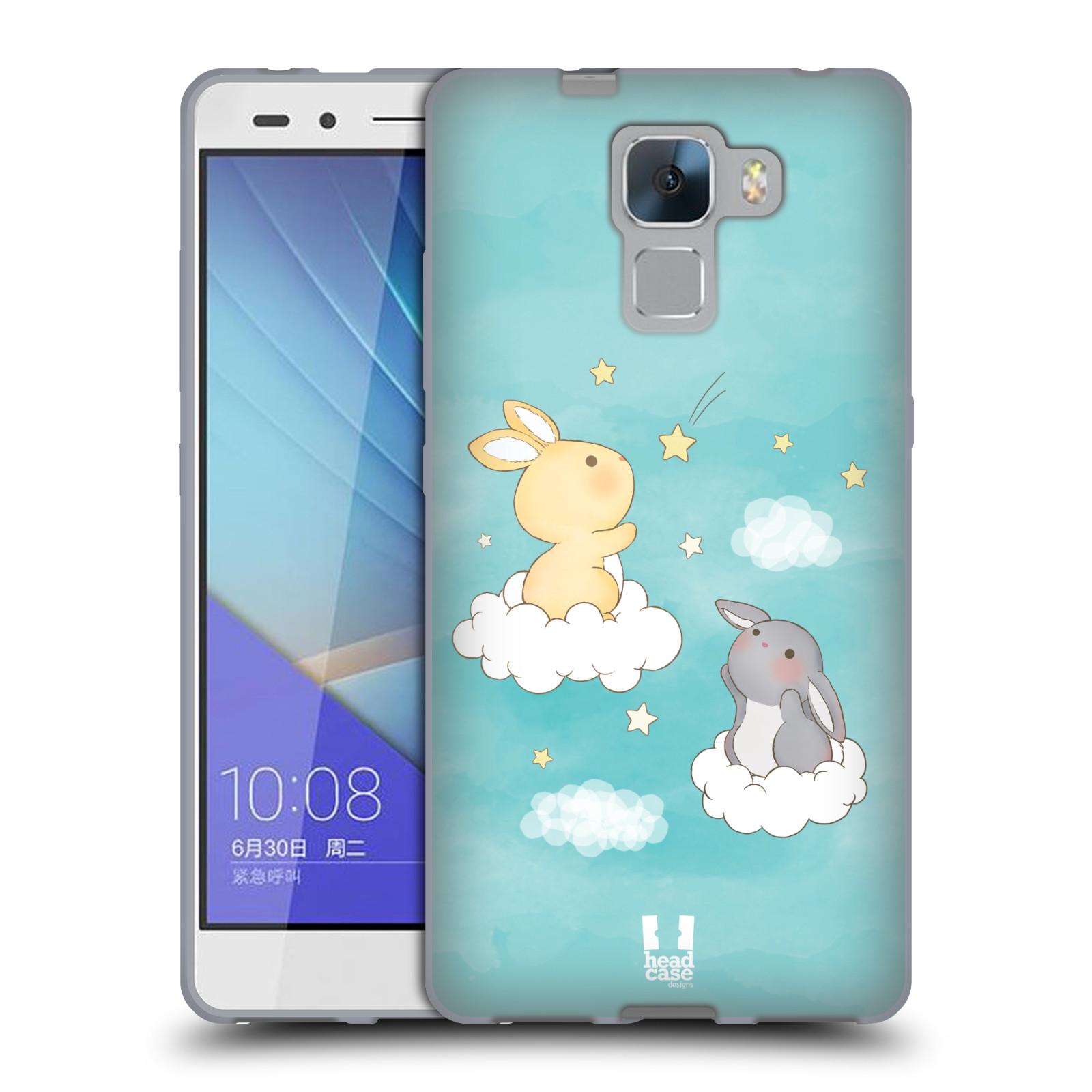 HEAD CASE silikonový obal na mobil HUAWEI HONOR 7 vzor králíček a hvězdy modrá