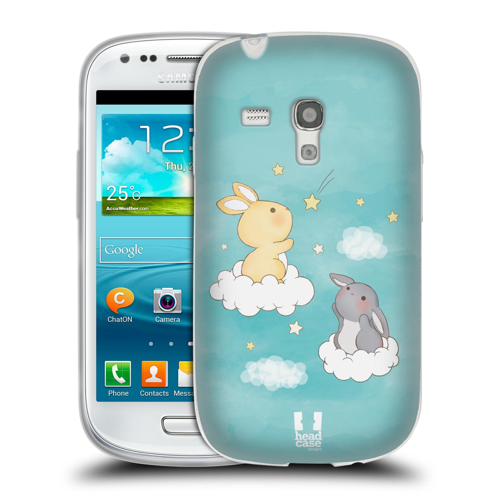 HEAD CASE silikonový obal na mobil Samsung Galaxy S3 MINI i8190 vzor králíček a hvězdy modrá