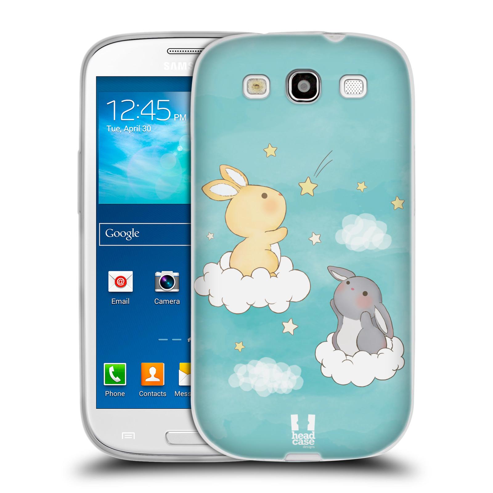 HEAD CASE silikonový obal na mobil Samsung Galaxy S3 i9300 vzor králíček a hvězdy modrá