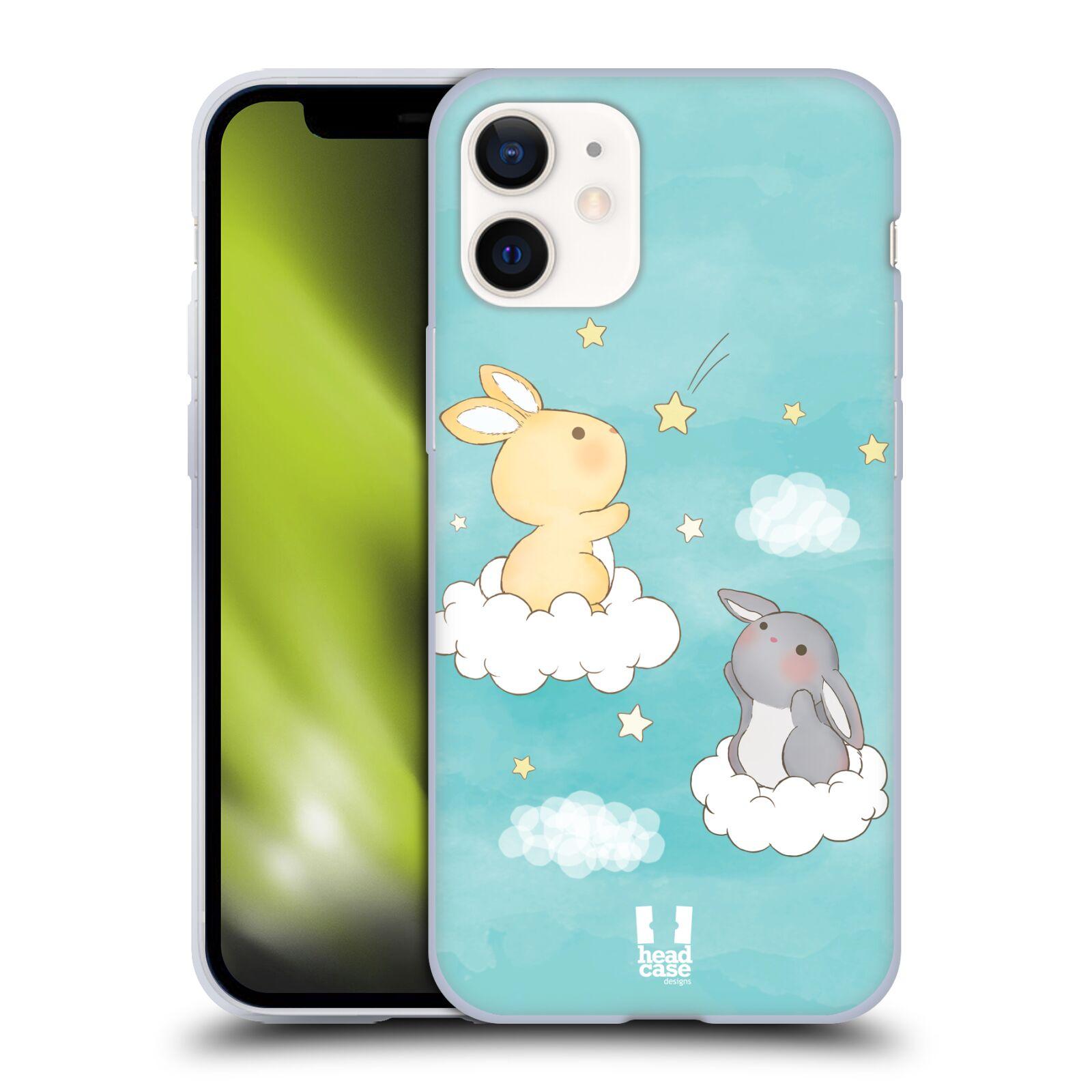 Plastový obal na mobil Apple Iphone 12 MINI vzor králíček a hvězdy modrá