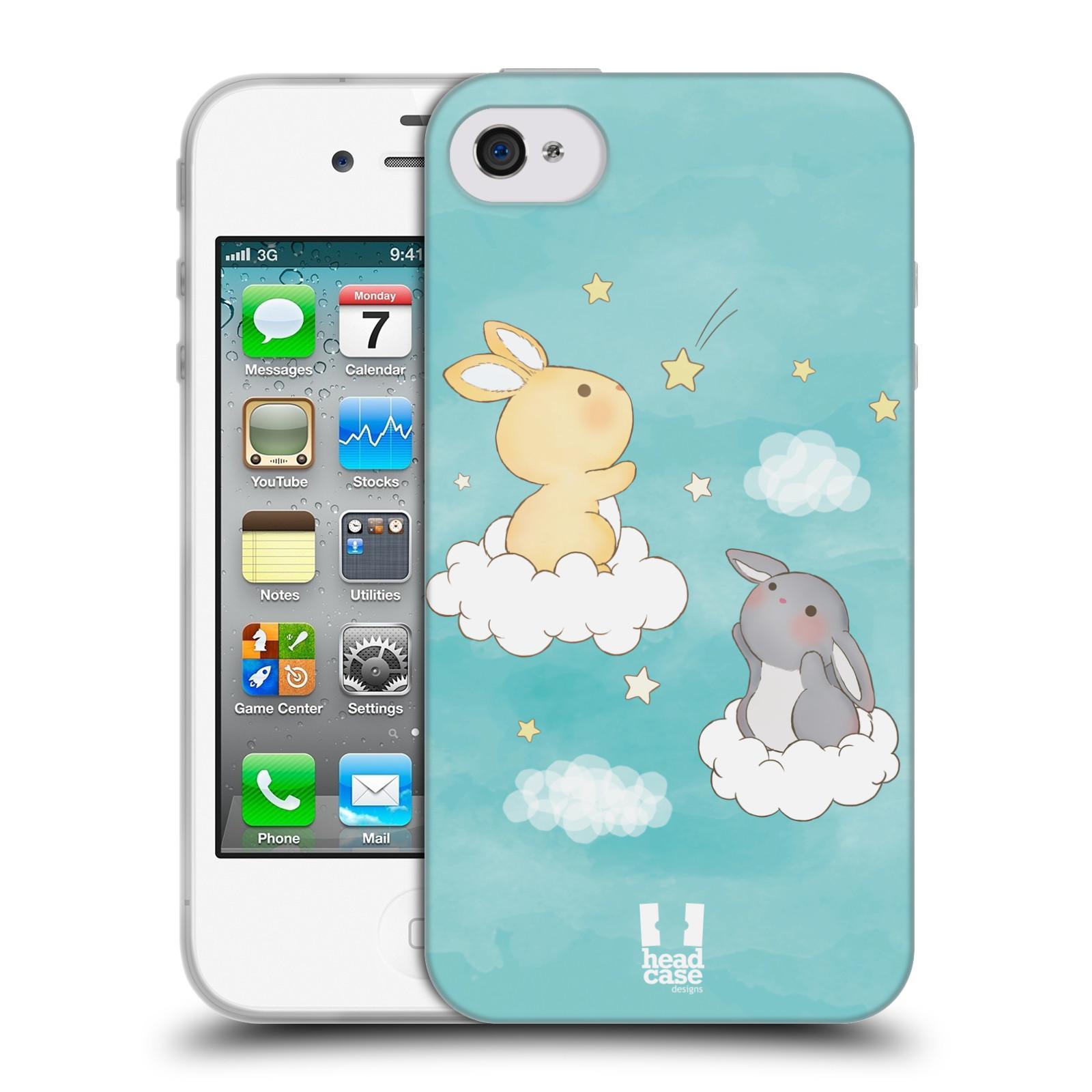 HEAD CASE silikonový obal na mobil Apple Iphone 4/4S vzor králíček a hvězdy modrá