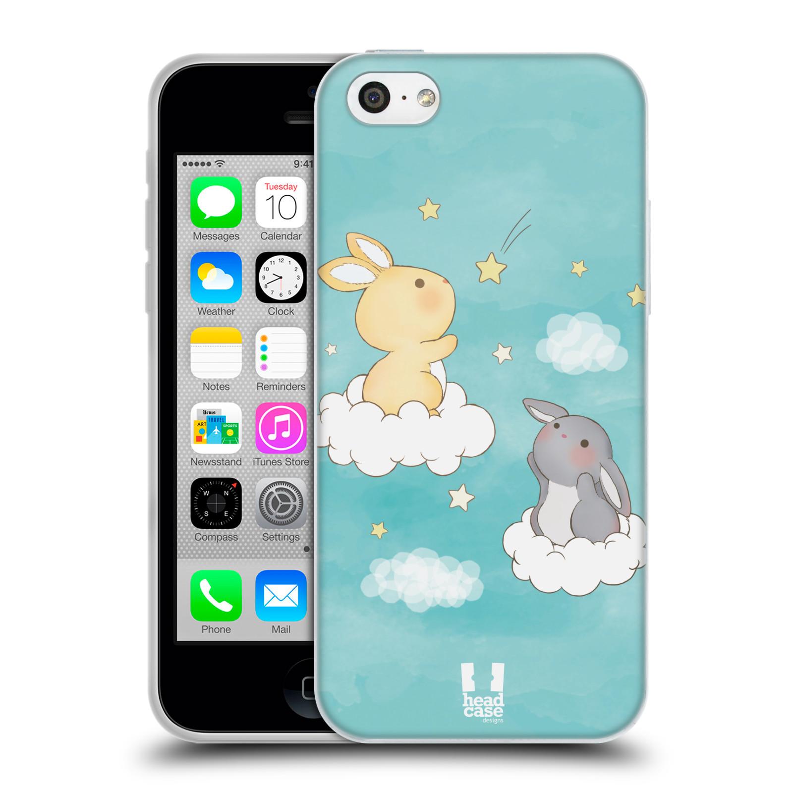 HEAD CASE silikonový obal na mobil Apple Iphone 5C vzor králíček a hvězdy modrá