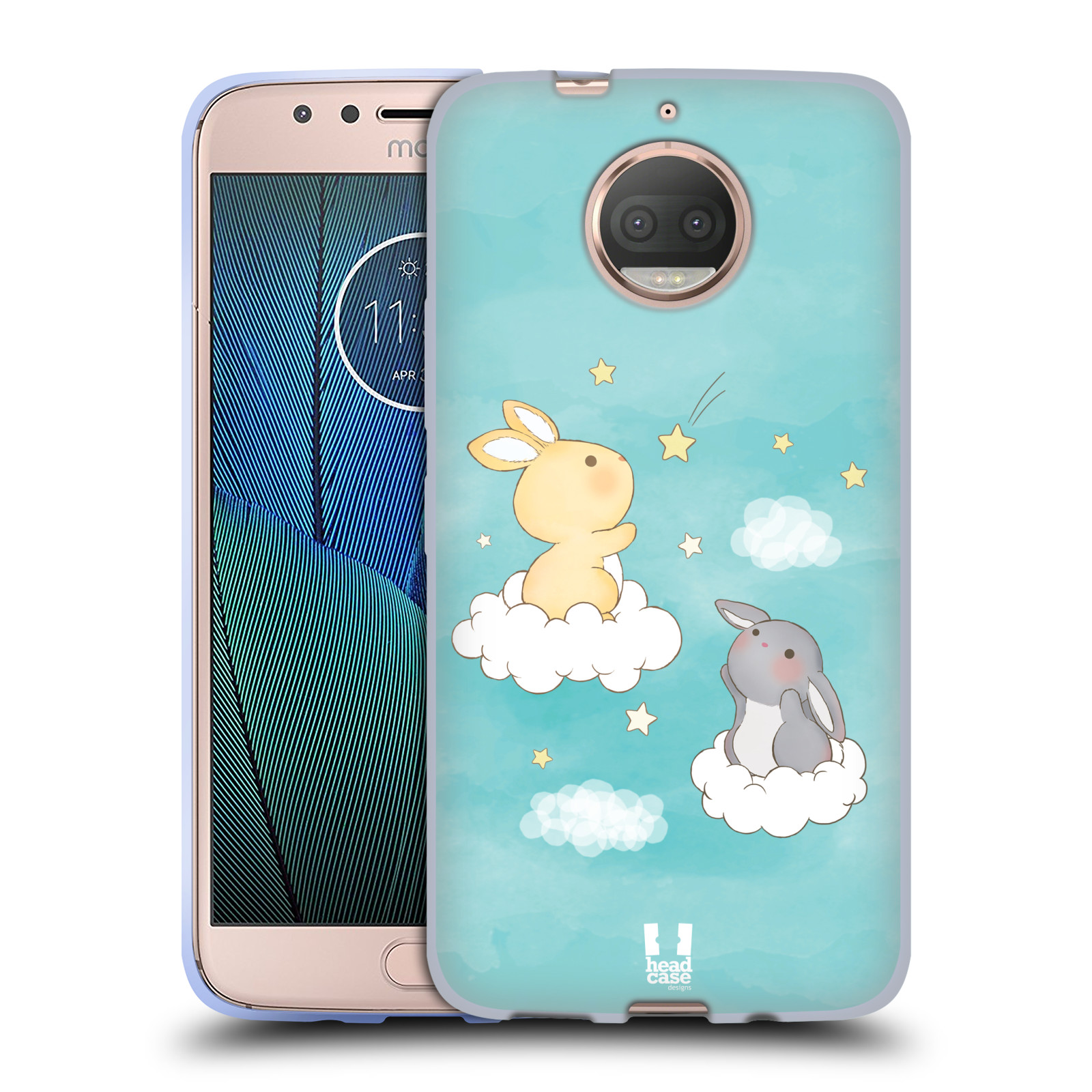 HEAD CASE silikonový obal na mobil Lenovo Moto G5s PLUS vzor králíček a hvězdy modrá