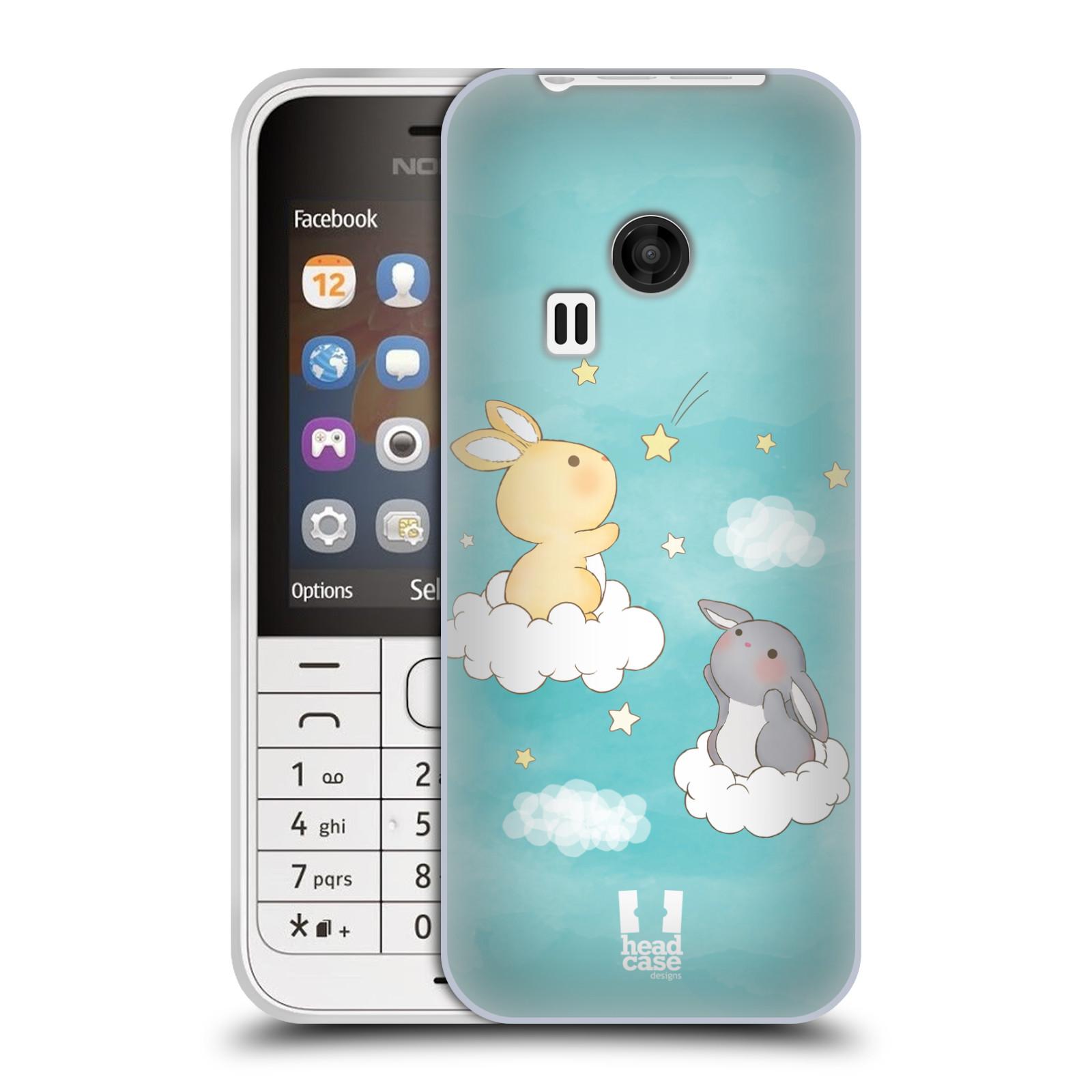 HEAD CASE silikonový obal na mobil NOKIA 220 / NOKIA 220 DUAL SIM vzor králíček a hvězdy modrá