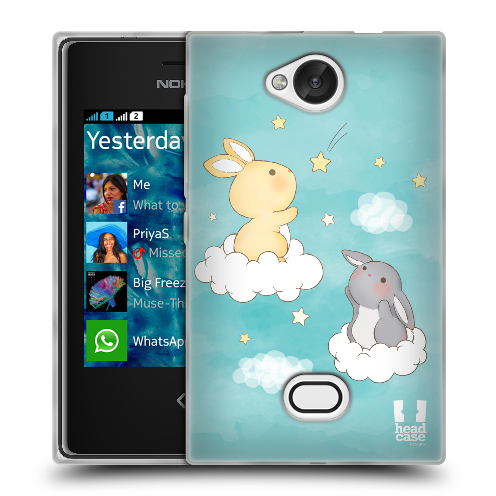 HEAD CASE silikonový obal na mobil NOKIA Asha 503 vzor králíček a hvězdy modrá