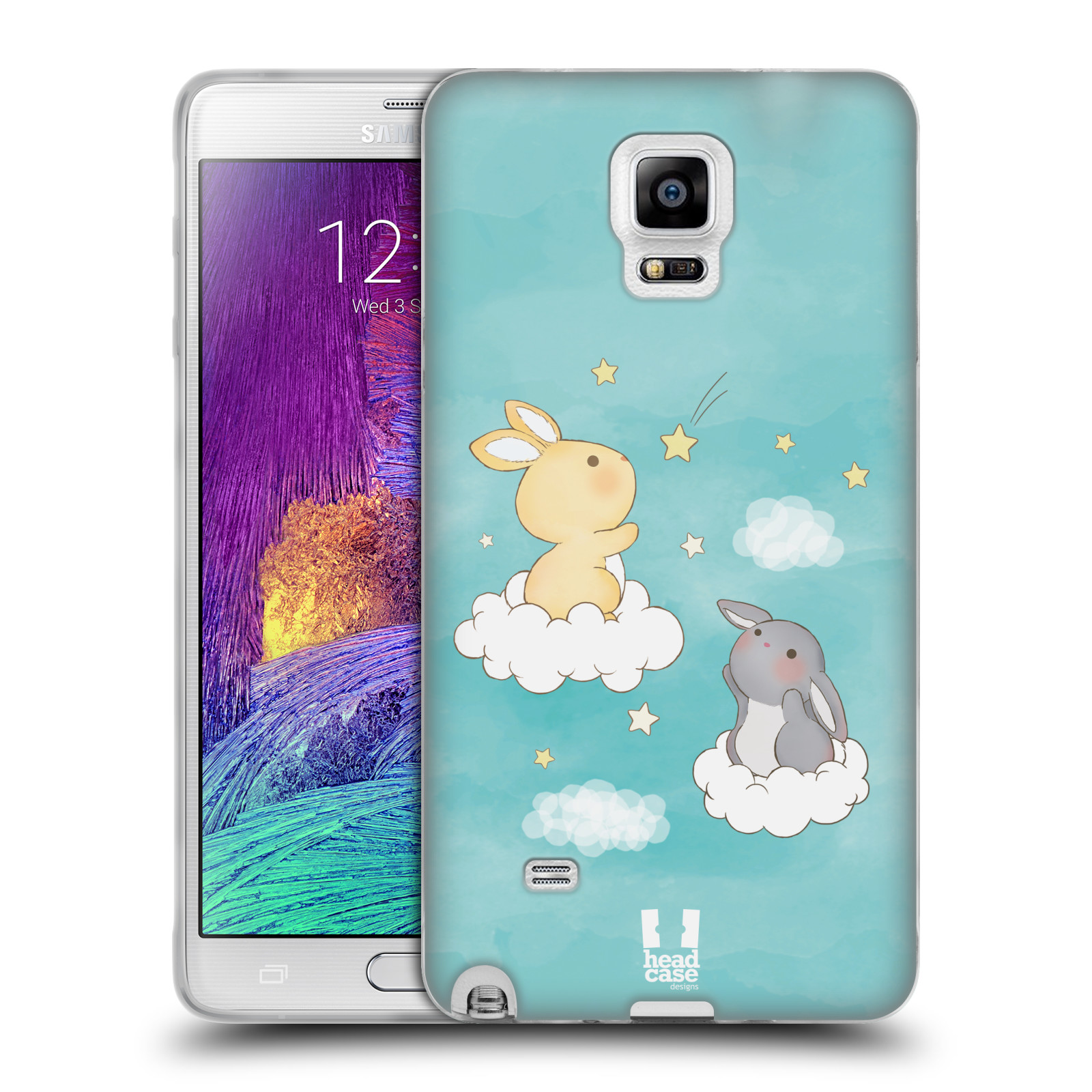 HEAD CASE silikonový obal na mobil Samsung Galaxy Note 4 (N910) vzor králíček a hvězdy modrá