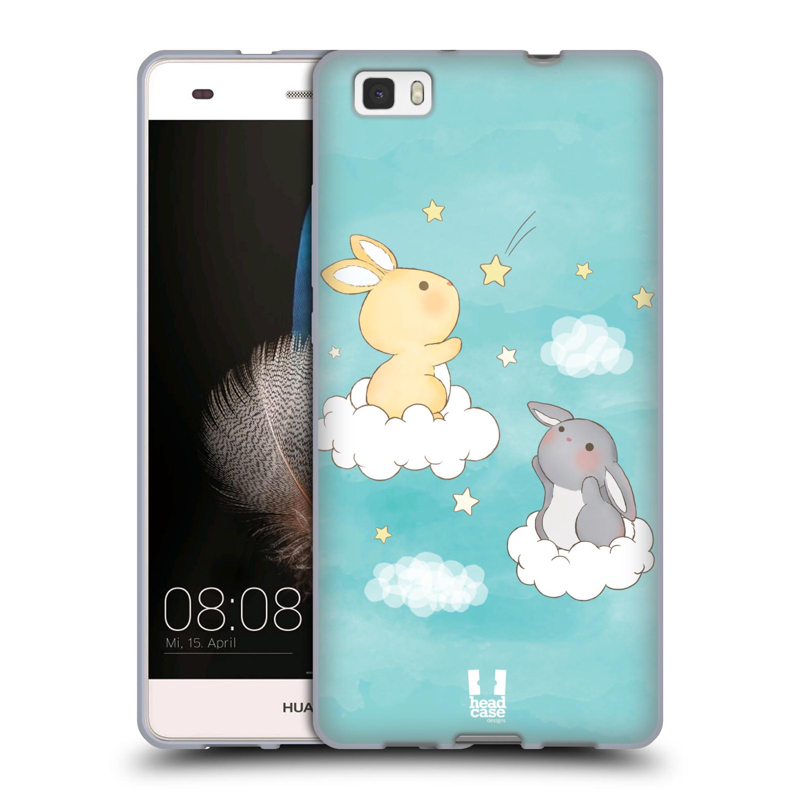 HEAD CASE silikonový obal na mobil HUAWEI P8 LITE vzor králíček a hvězdy modrá