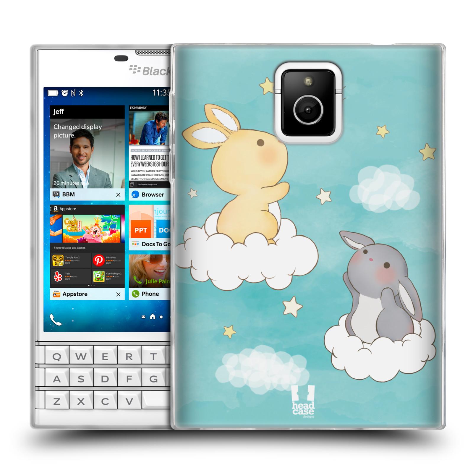 HEAD CASE silikonový obal na mobil Blackberry PASSPORT vzor králíček a hvězdy modrá