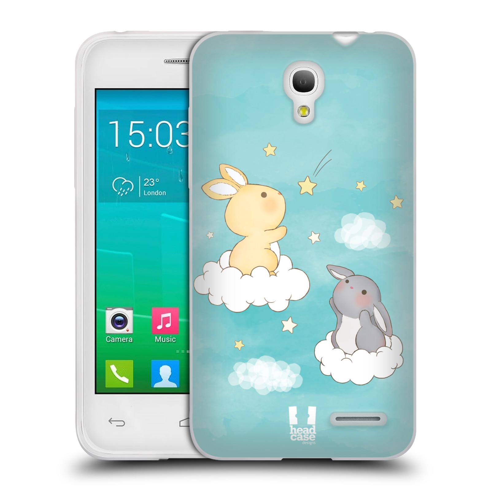 HEAD CASE silikonový obal na mobil Alcatel POP S3 OT-5050Y vzor králíček a hvězdy modrá