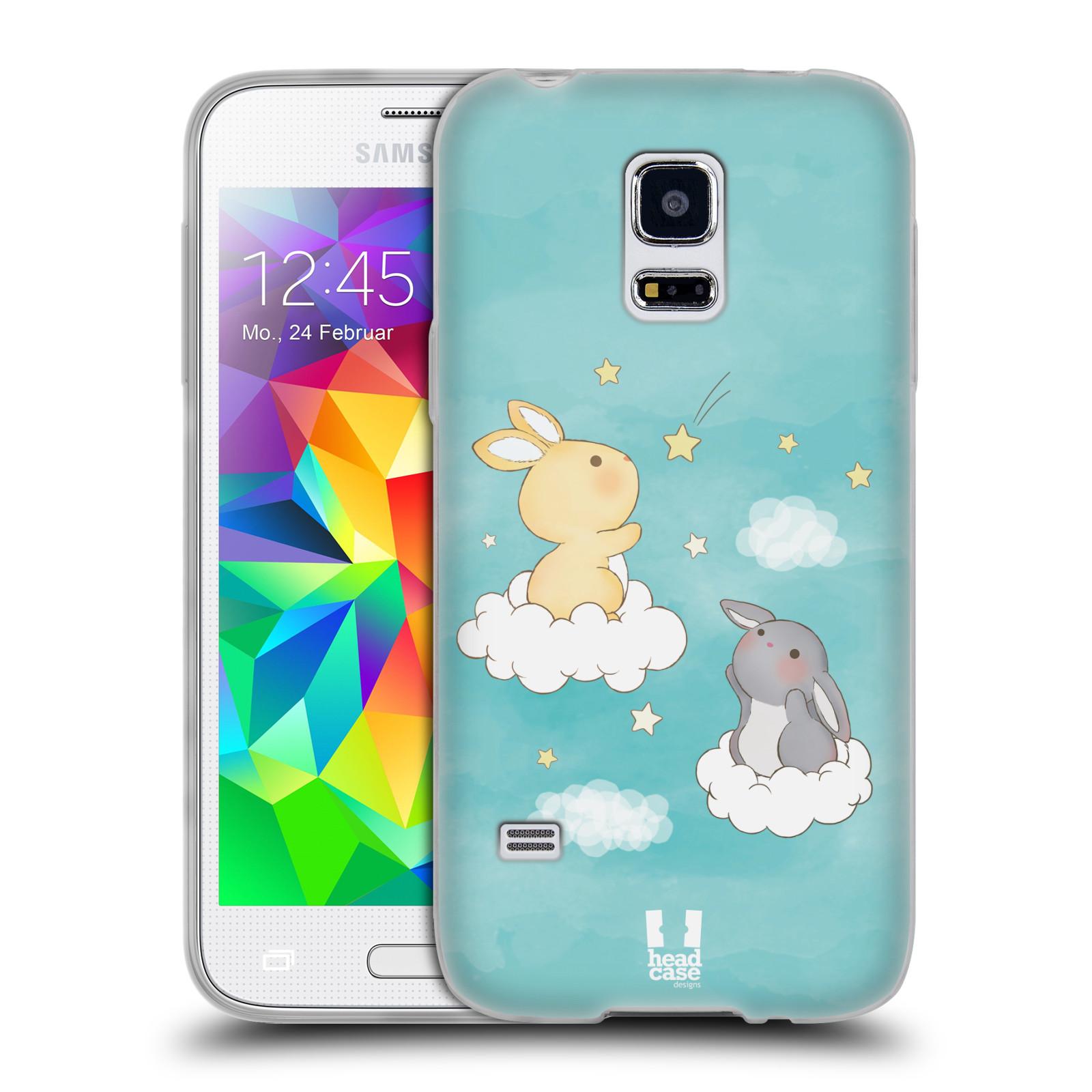 HEAD CASE silikonový obal na mobil Samsung Galaxy S5 MINI vzor králíček a hvězdy modrá