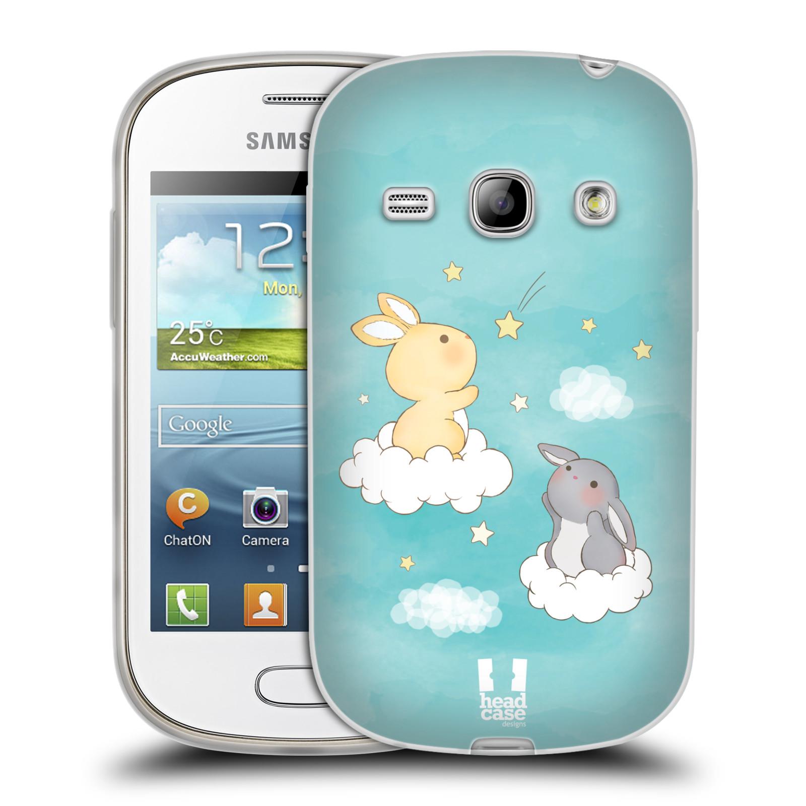 HEAD CASE silikonový obal na mobil Samsung Galaxy FAME vzor králíček a hvězdy modrá