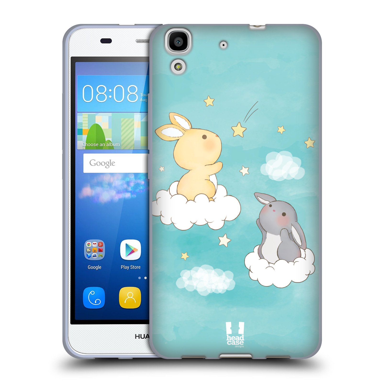 HEAD CASE silikonový obal na mobil HUAWEI Y6 vzor králíček a hvězdy modrá